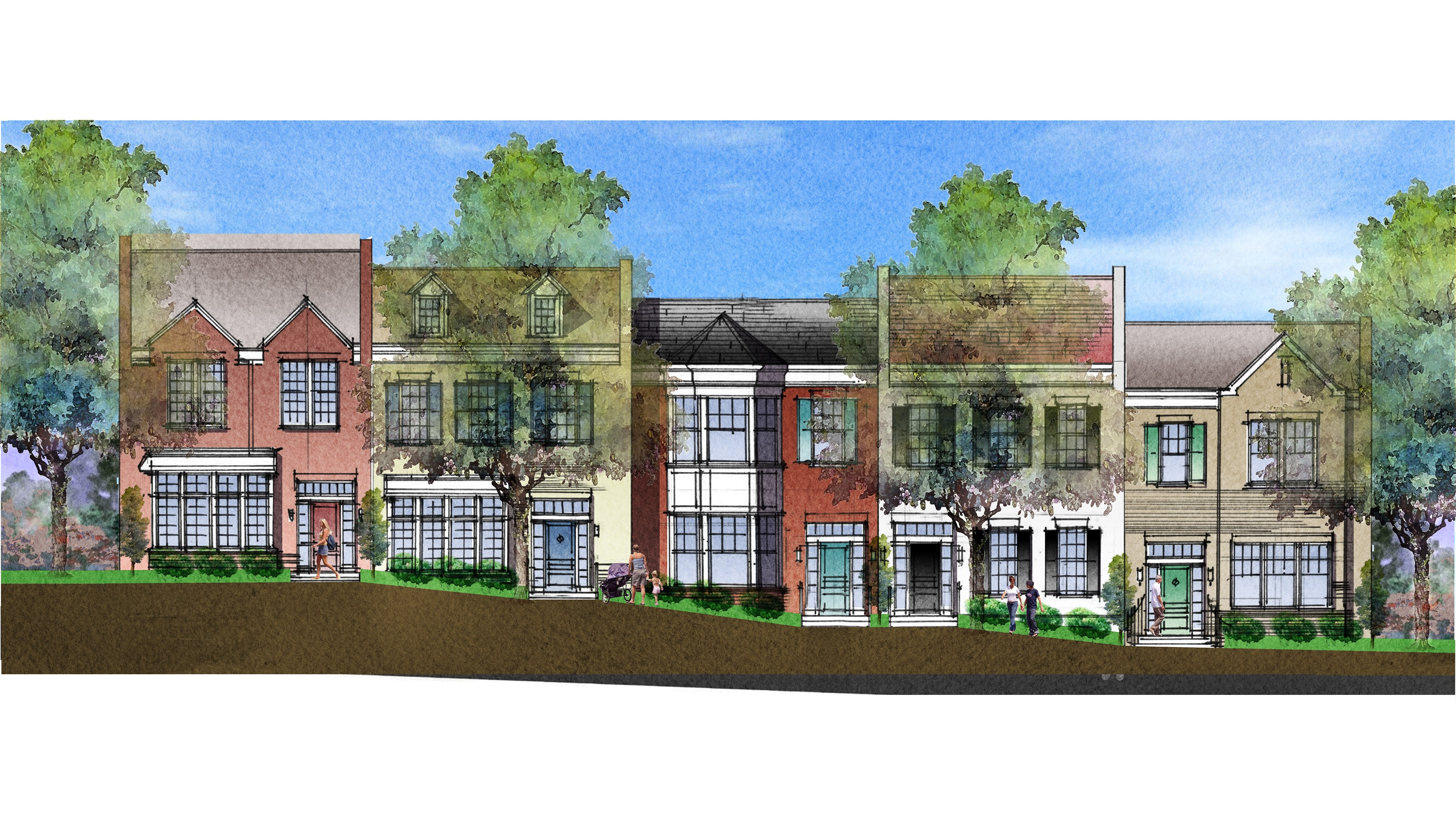 Rendering shows the variety of facade designs of townhouses to be built along Hopkins Lane on the Bancroft site.