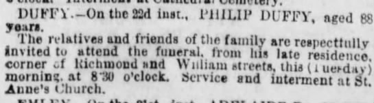 Death notice for Philip Duffy in an 1871 edition of the Philadelphia Inquirer.