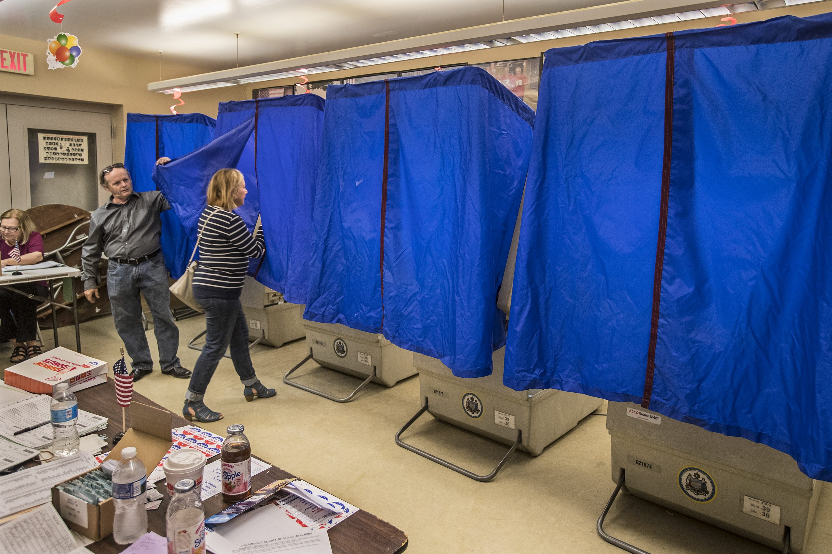 A polling place at the bocci court at Marconi Plaza in Philadelphia during the 2017 primary elections.