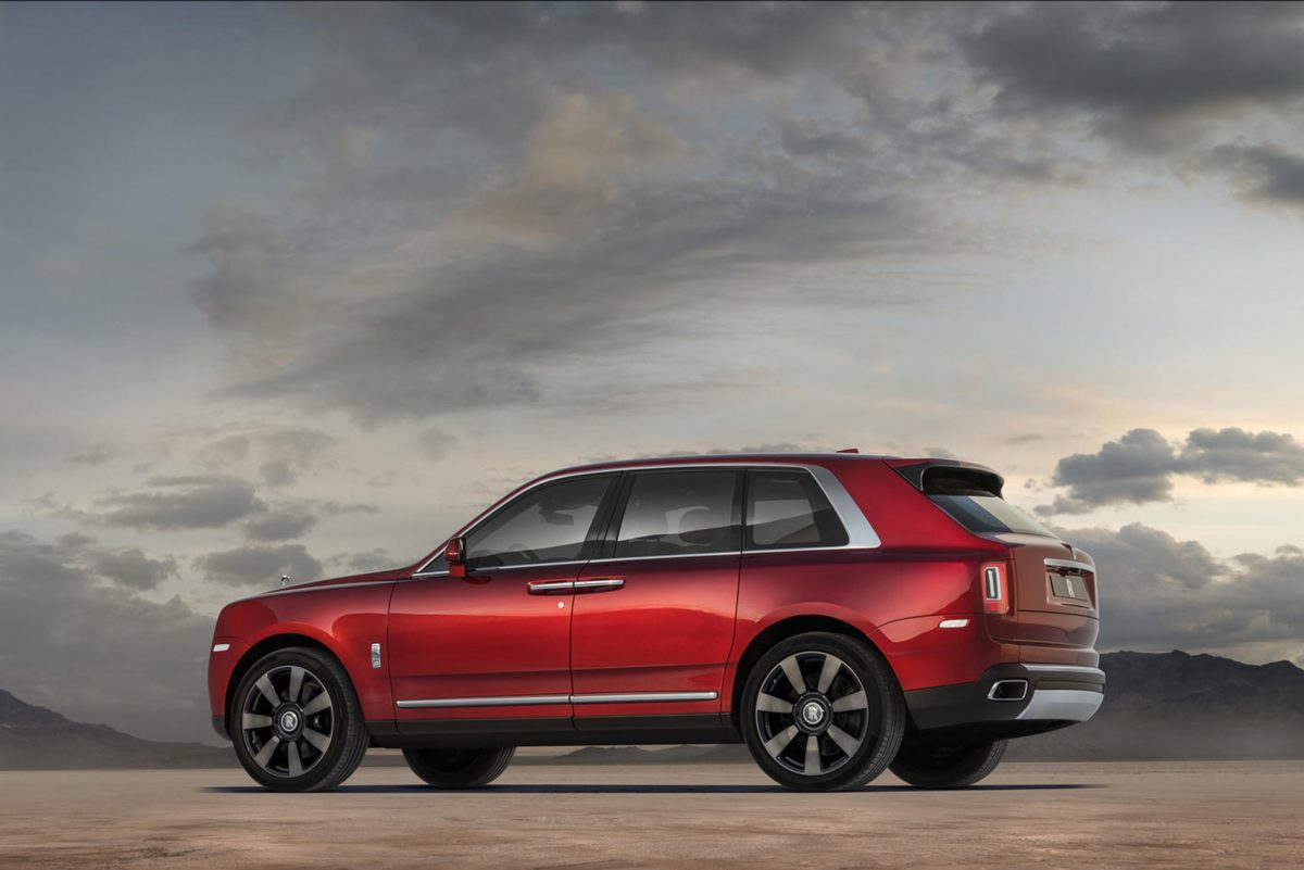 Rolls-Royce Cullinan is the bespoke British brand's first SUV and first AWD vehicle. It's powered by a 563-horsepower 6.75-liter twin-turbo V-12 engine. It starts at $325,000.