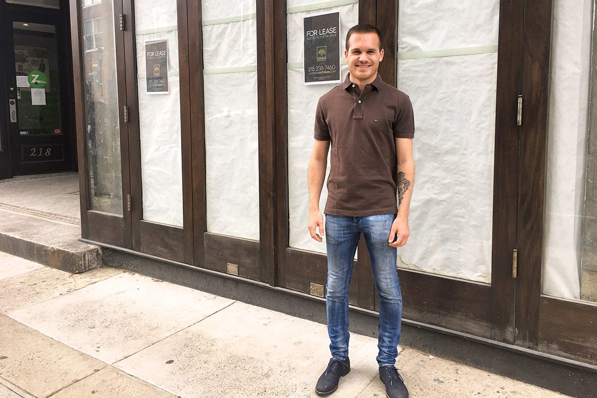 Bastien Ornano outside his future J'aime French Bakery, 212 S. 12th St.