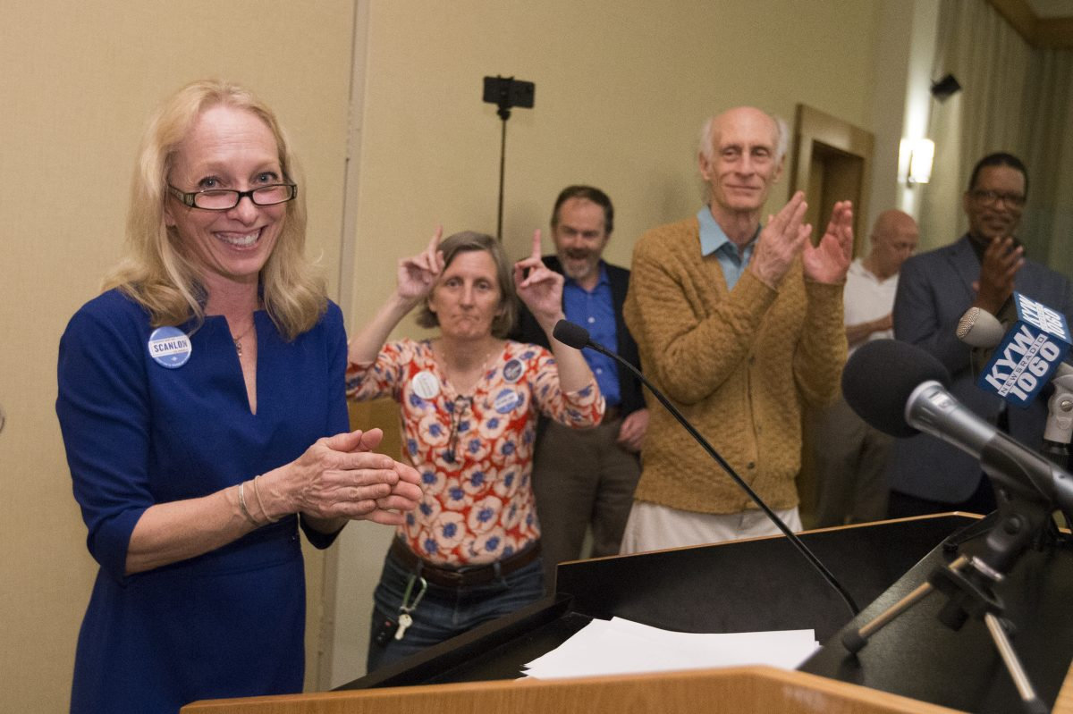 She slaughtered a Philly-labor-backed male opponent in a field in which six women vastly outdrew votes against four men: Democratic Fifth Congressional District candidate Mary Gay Scanlon makes her victory speech at the The Inn at Swarthmore on May 15, 2018.