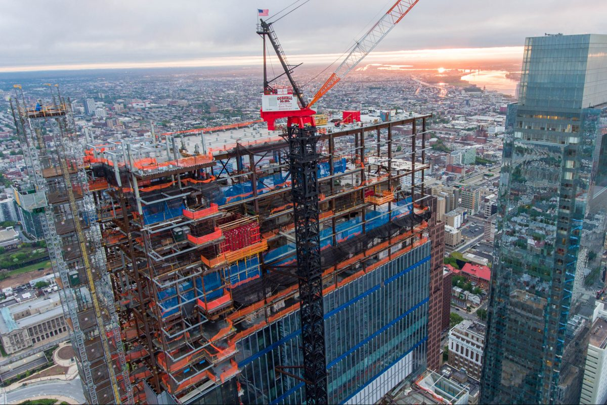 A Philadelphia-area union work stoppage has slowed construction on buildings such as the new Comcast Corp. tower.