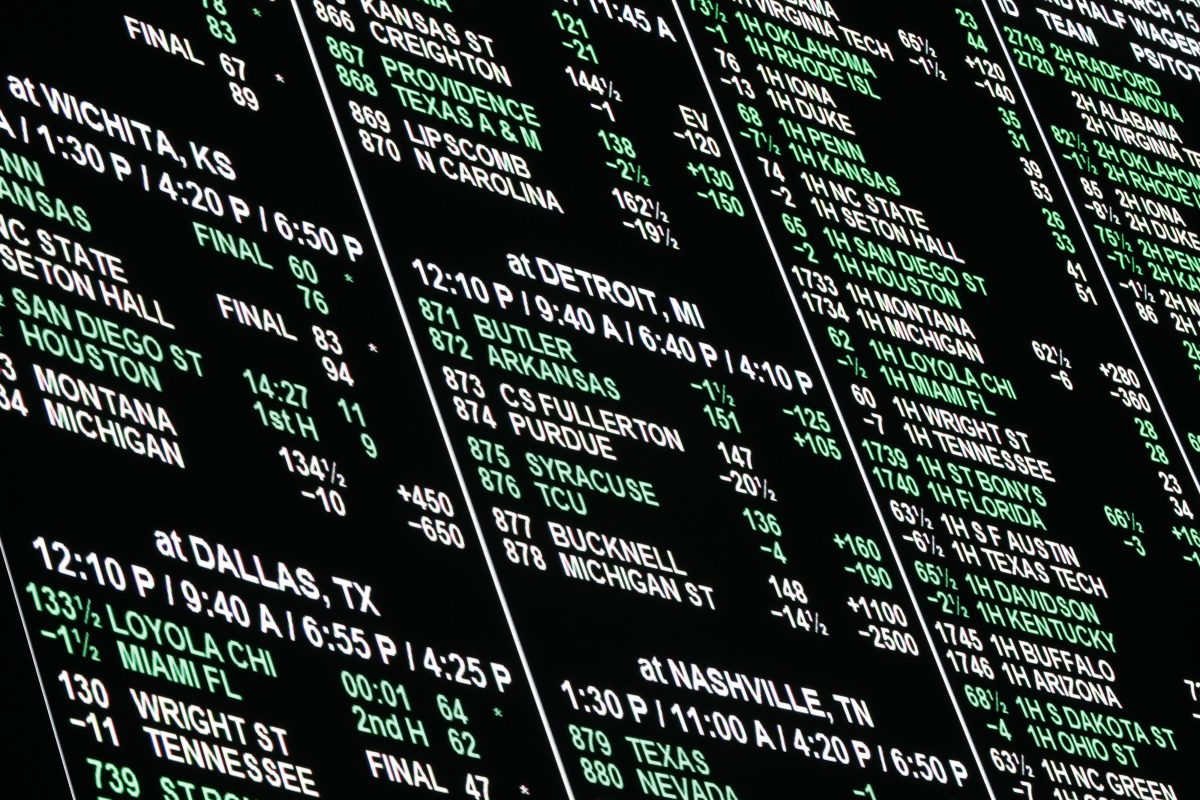 A board at the Westgate Superbook displays odds during the NCAA tournament. Monday's ruling means you could start placing bets in states all around the country soon.