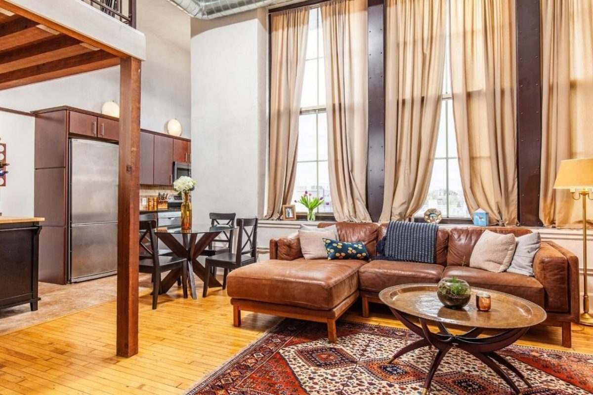 A one-bedroom with loft unit for sale in the Hawthorne building on Fitzwater Street in Philadelphia.