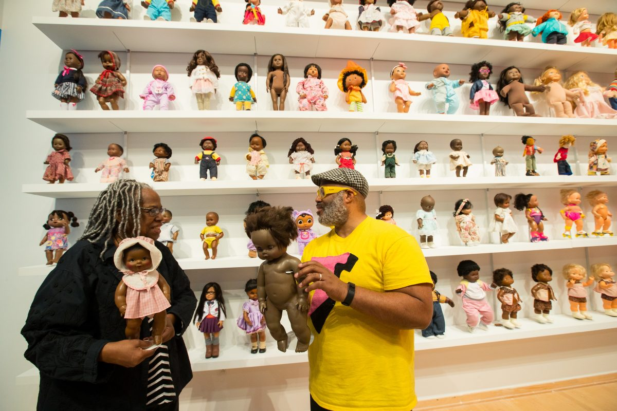Executive Director of the Philadelphia Doll Museum Barbara Whiteman, left, and artist and toy maker Trenton Doyle Hancock JESSICA GRIFFIN / Staff Photographer