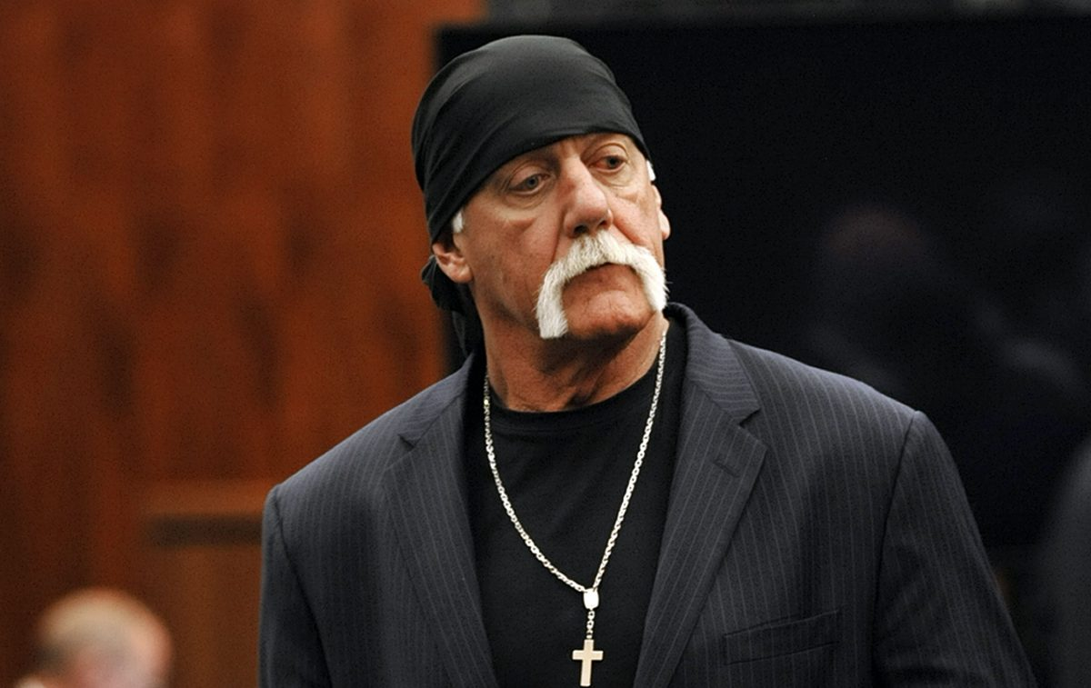 Former wrestler Hulk Hogan, whose given name is Terry Bollea, leaves the courtroom during a break in his trial against Gawker Media in 2016.