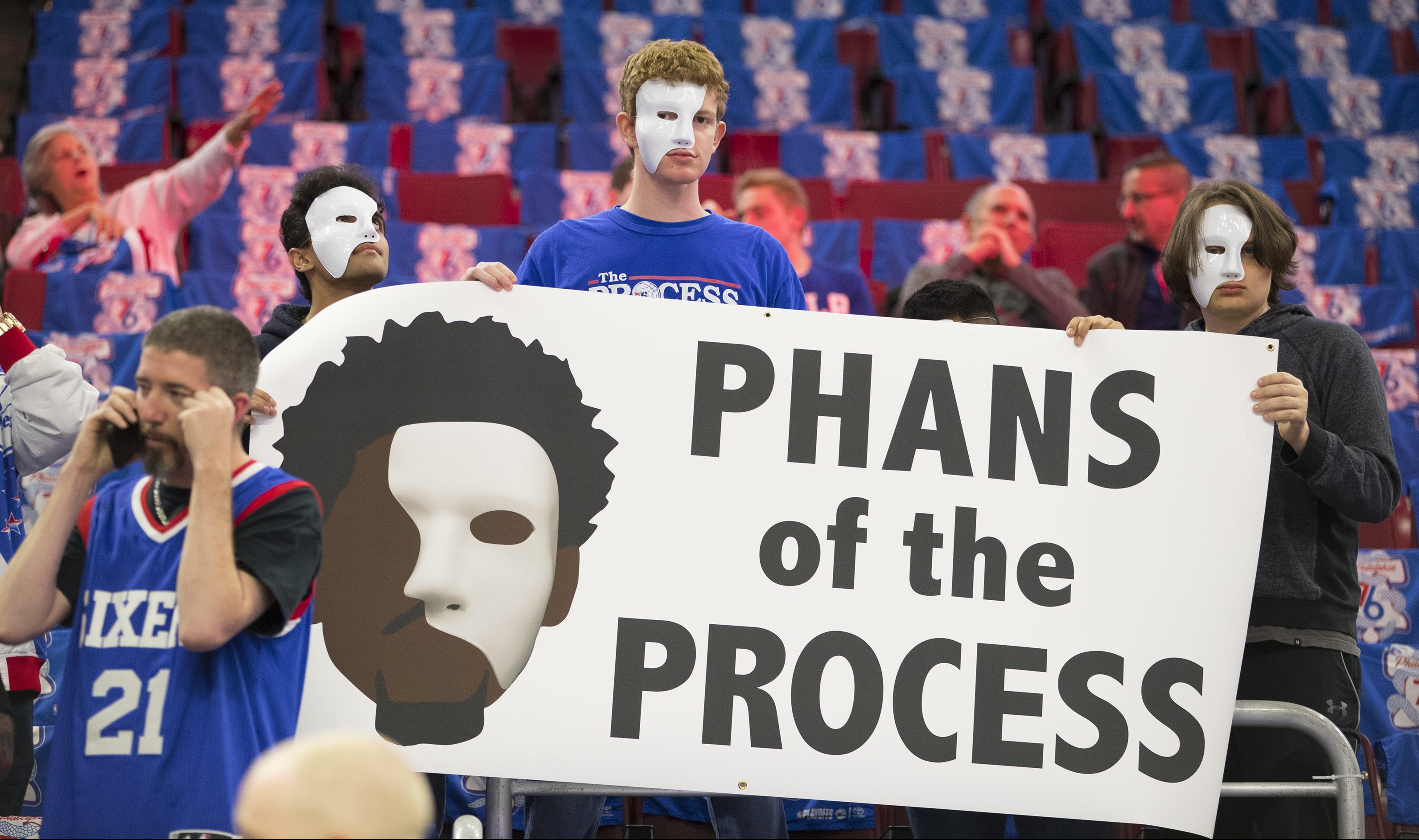 Joel Embiid fans showing their allegiance to the Process before a playoff game last month.
