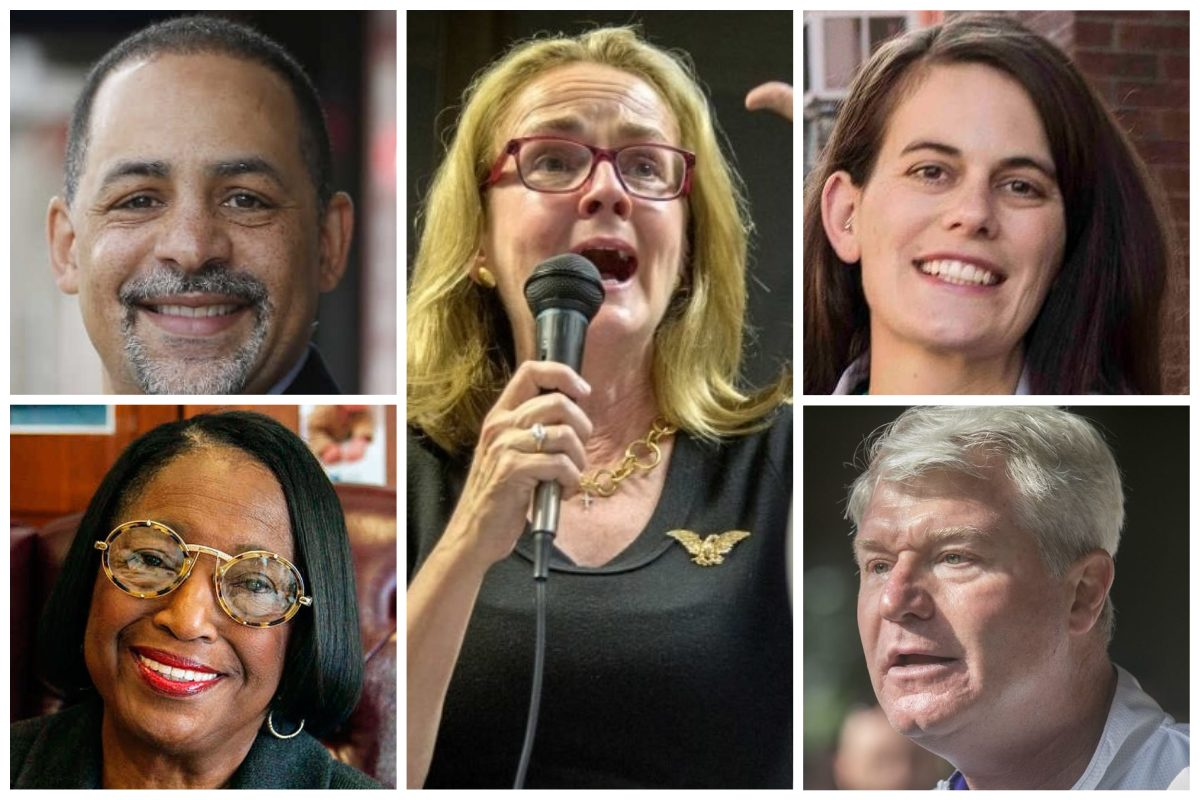 Clockwise: State Rep. Chris Rabb, congressional candidate Madeleine Dean, State Rep. candidate Elizabeth Fiedler, labor leader John Dougherty and former Councilwoman Marian Tasco.