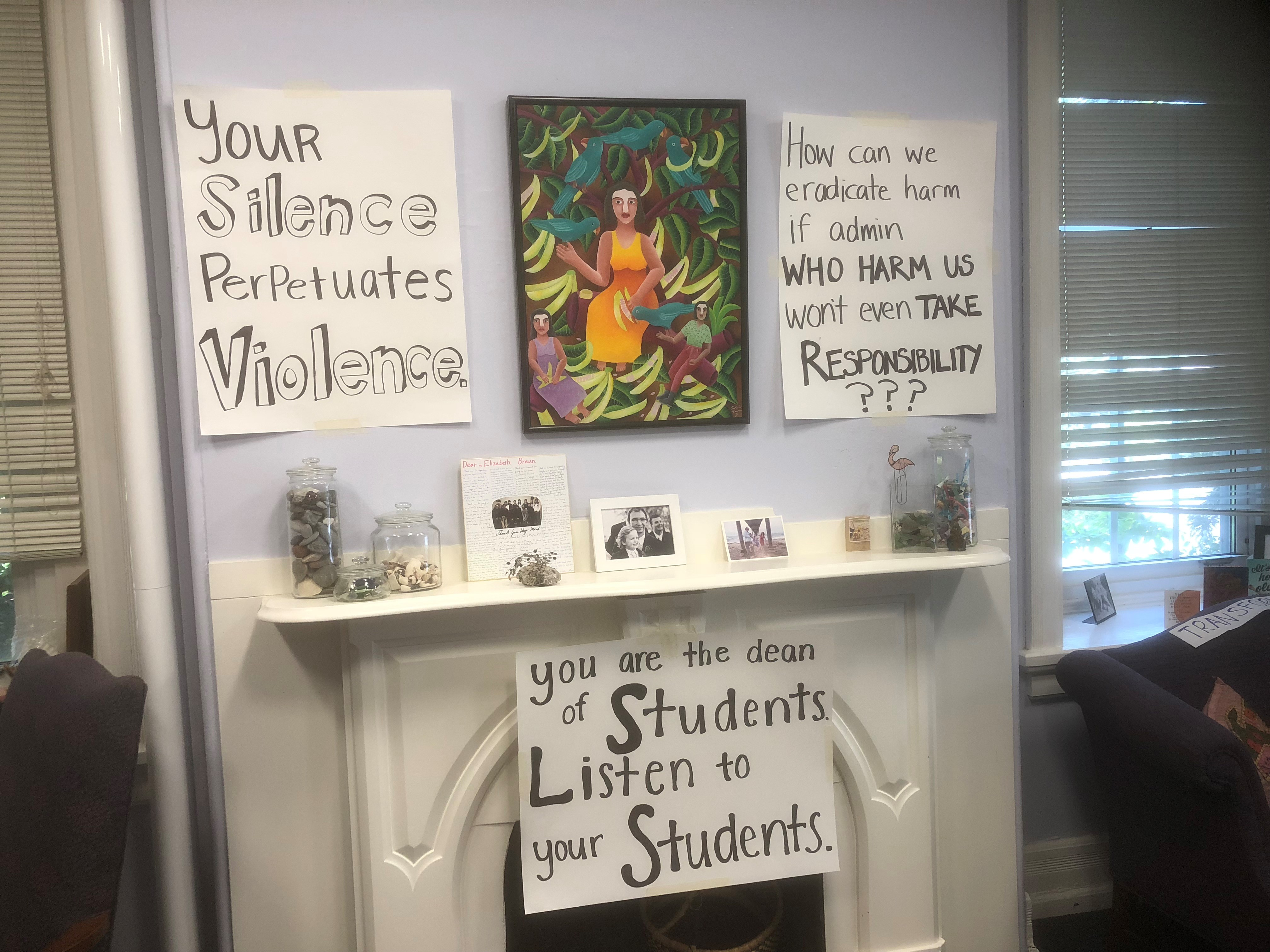 Students from Swarthmore College papered the walls of Dean of Students H. Elizabeth Braun´s office with protest signs during a nine-day sit-in.