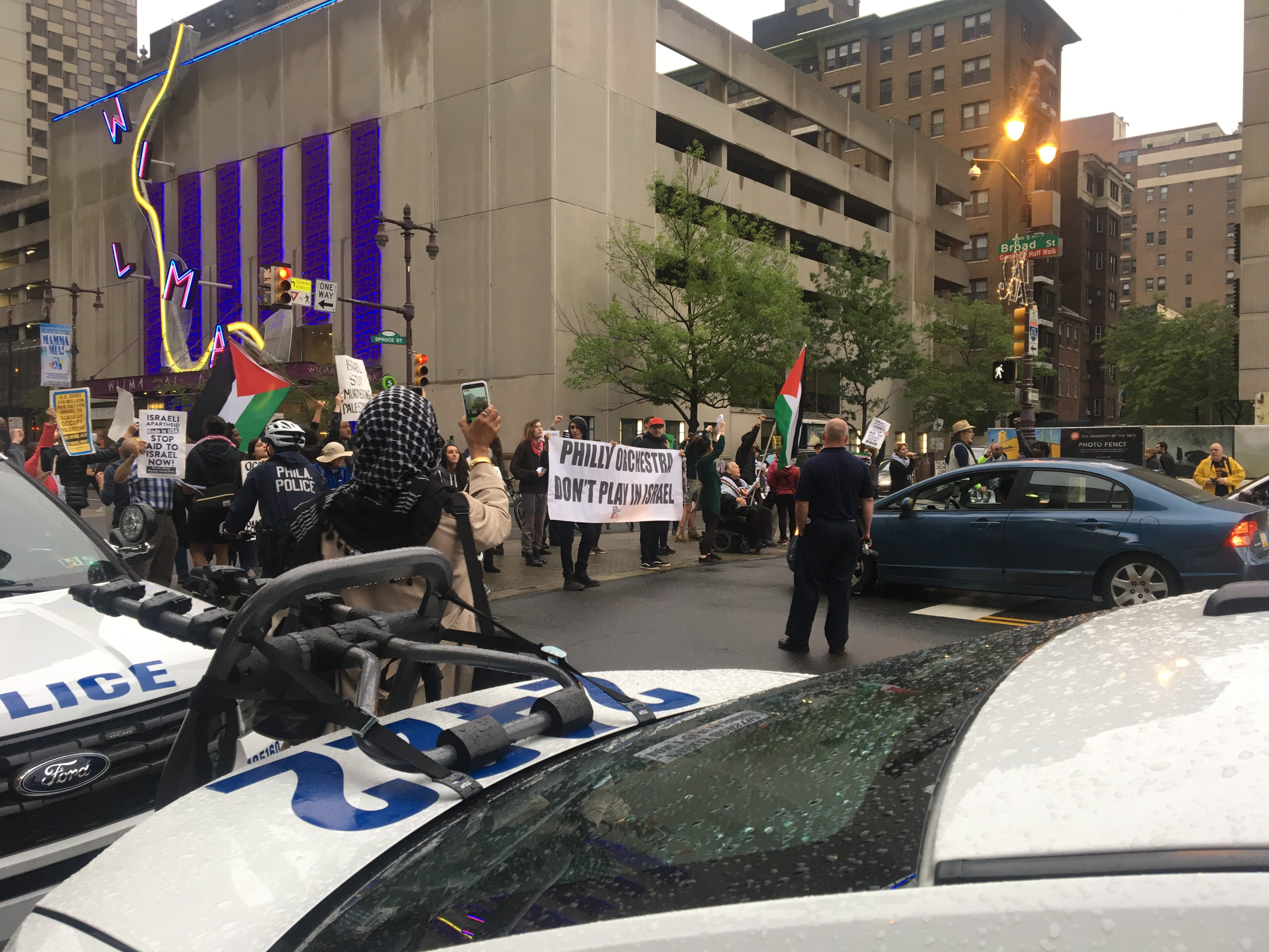 Roughly 60 pro-Palestinaian protesters showed up on Saturday, May 19, 2018, blocking Broad Street for five minutes. The protesters eventually moved to the southbound lane, where police directed traffic around them.