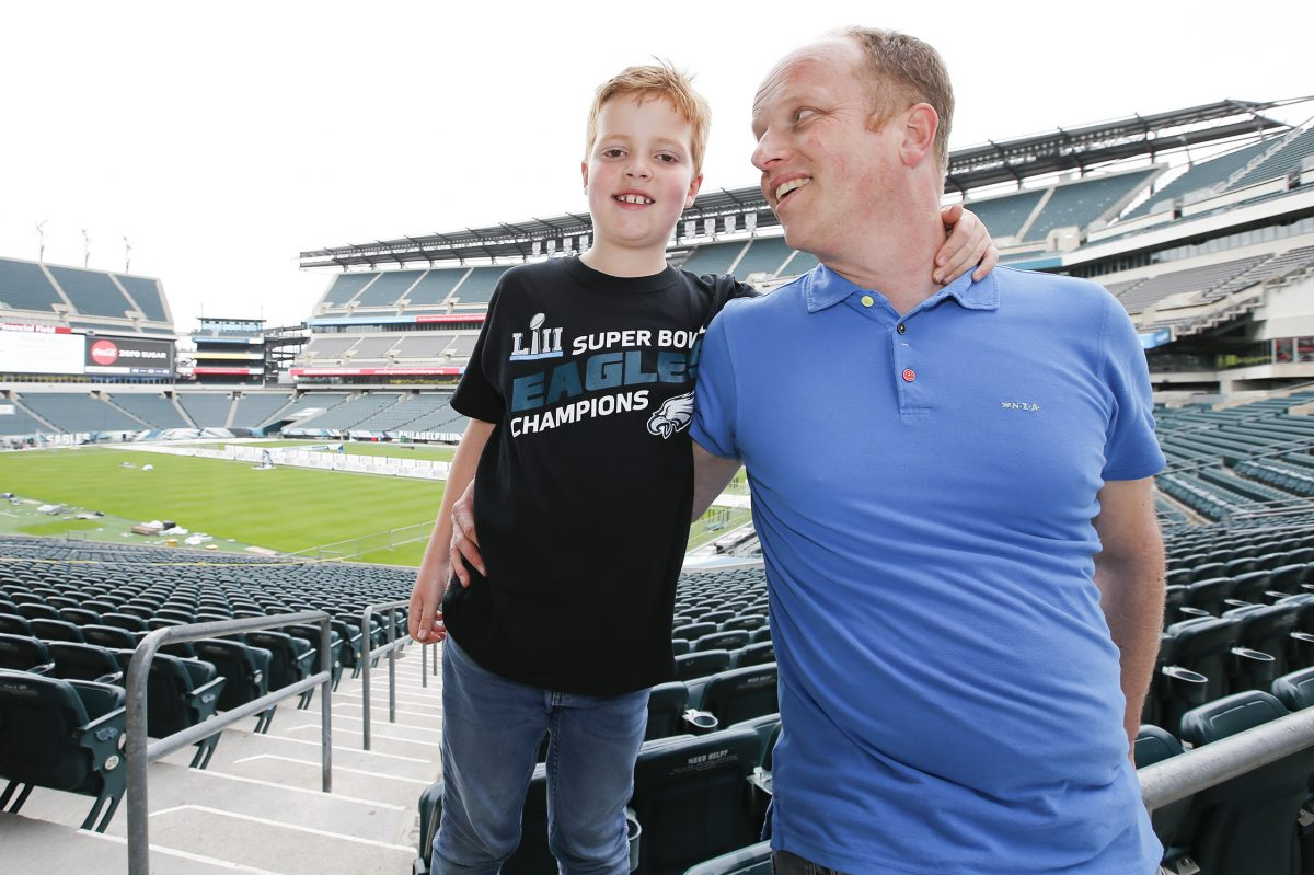 Bram Hendriks with his son Thijmen, 8, inside Lincoln Financial Field on Friday, May 18, 2018.
