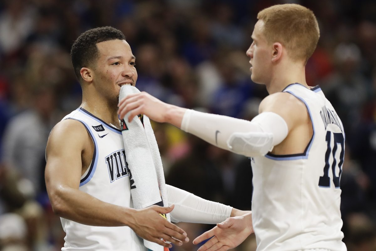 Villanova guard Jalen Brunson and guard Donte DiVincenzo celebrate their win over Kansas in the NCAA Basketball Championship semifinals game on Saturday, March 31, 2018 at the Alamodome in San Antonio.