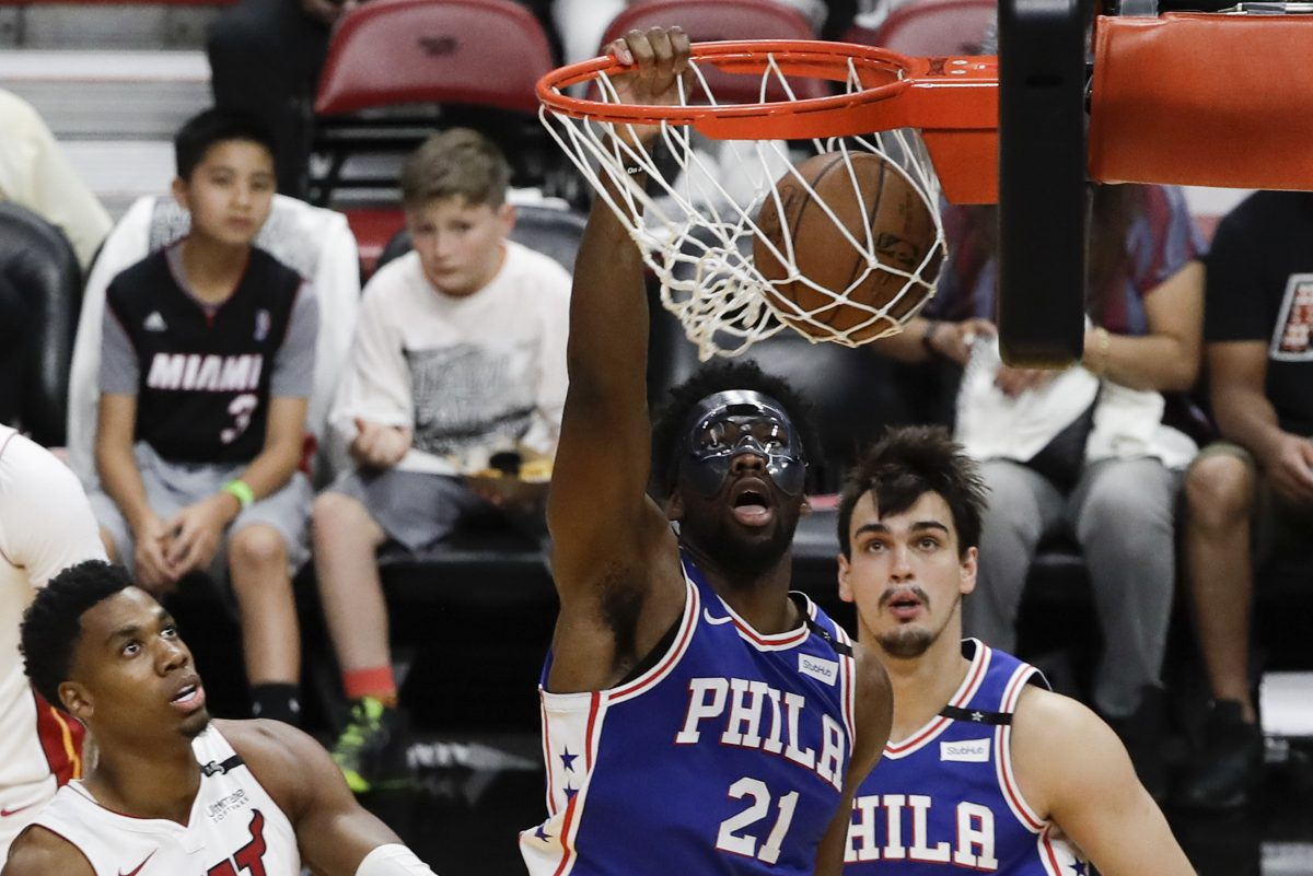 Sixers center Joel Embiid played 71 games (regular season and playoffs combined) and was dominant at times.