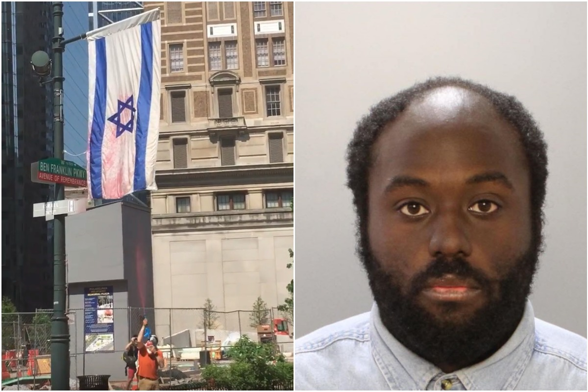 Update from the Philadelphia District Attorney´s office on the Israeli flag vandalism case. Video still shows suspect on the left clearly sprayed the flag with a water gun containing red dye or paint.