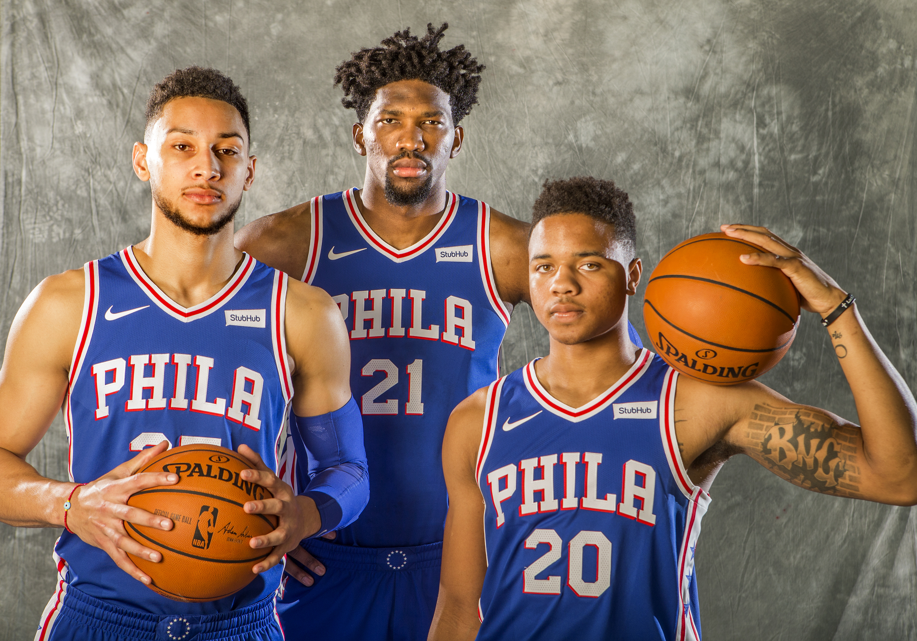 From left, Ben Simmons, Joel Embiid, and Markelle Fultz during media day last September.