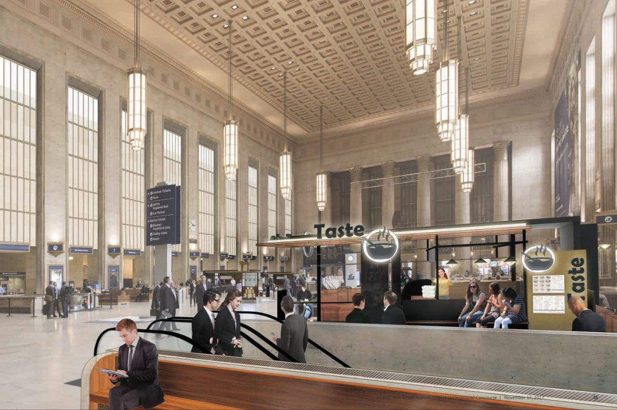 Artist's rendering of Main Concourse at Amtrak's 30th Street Station with planned retail kiosks.