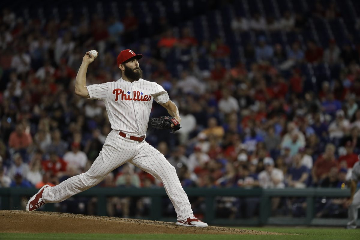 Phillies pitcher Jake Arrieta struggled, only managing to make it three innings with four allowed runs, two earned.