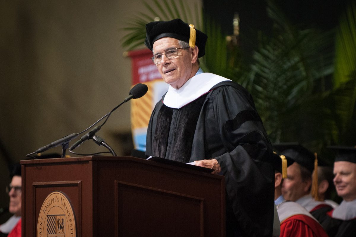 JENSEN20.Don DiJulia addresses graduates during commencement ceremonies for the Class of 2018 at St. Joseph´s University in Philadelphia, Pa. on Saturday, May 19, 2018. DiJulia is retiring as athletic director for the university this year (TRACIE VAN AUKEN/ For the Inquirer).