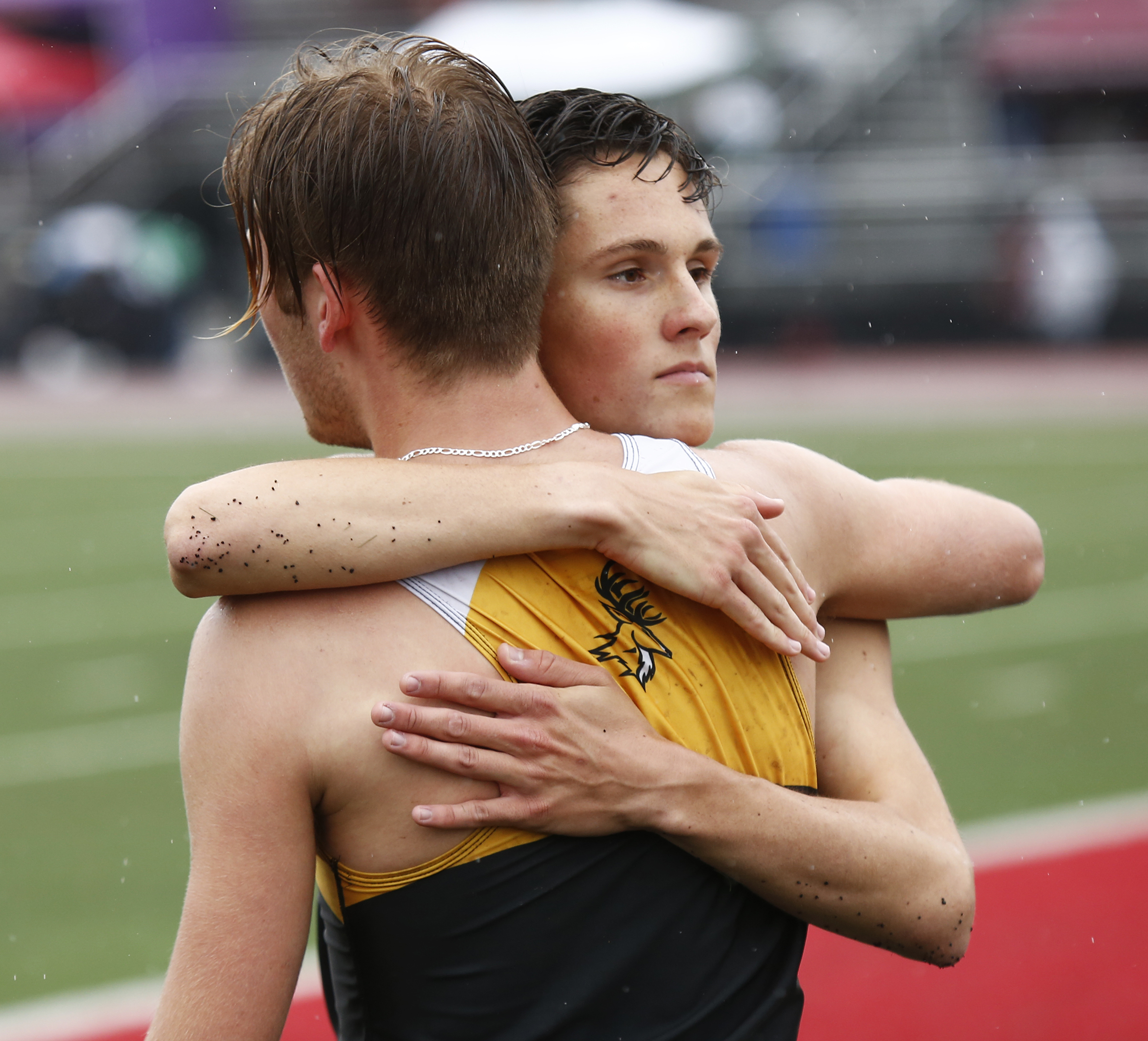 Ben Bunch (right) embraces teammate Brian Baker after the victory.