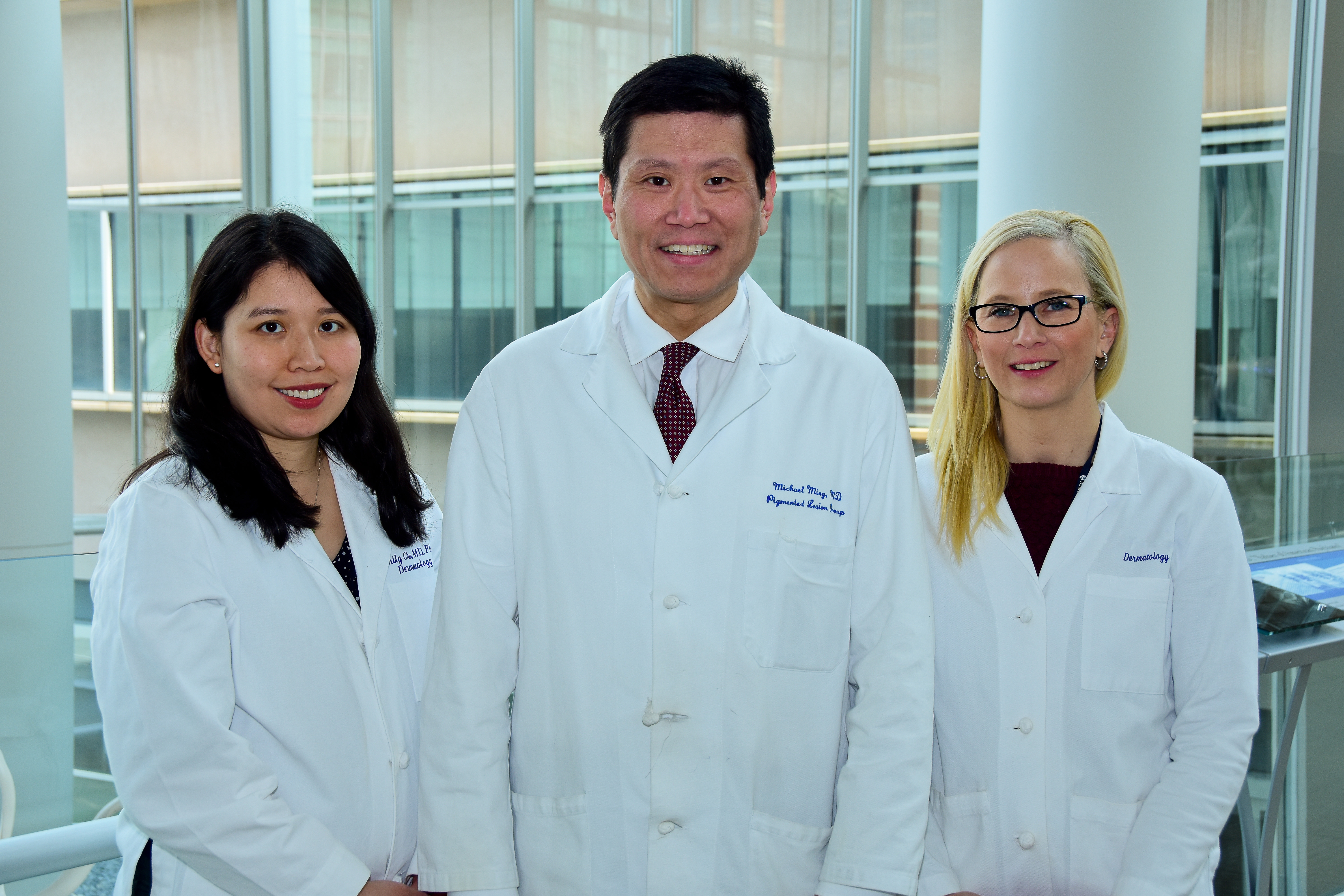 Penn dermatology professors researchers Emily Chu, Michael Ming and Carrie Lynn Kovarik studied the new app meant to help high-risk melanoma patients monitor their skin.