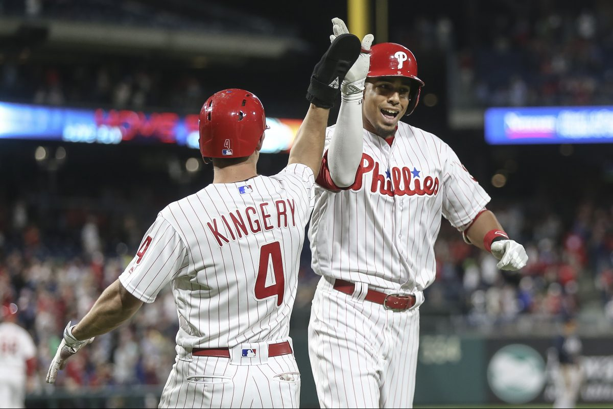 Aaron Altherr celebrates his two-run homer against the Braves with Scott Kingery in the seventh inning of the Phillies' 3-0 win Monday night at Citizens Bank Park.