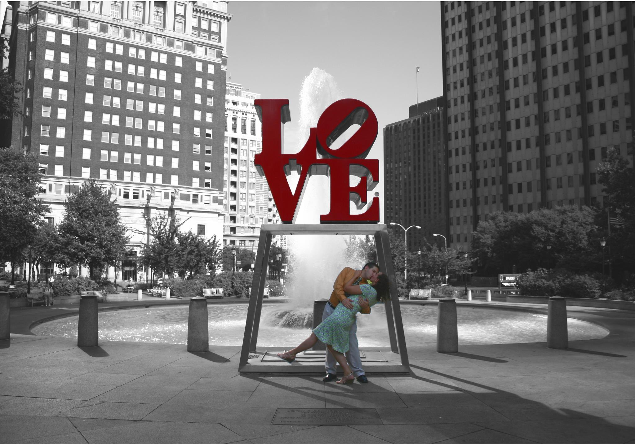 Carrie and Steven Silver got their engagement photos taken at the LOVE statue