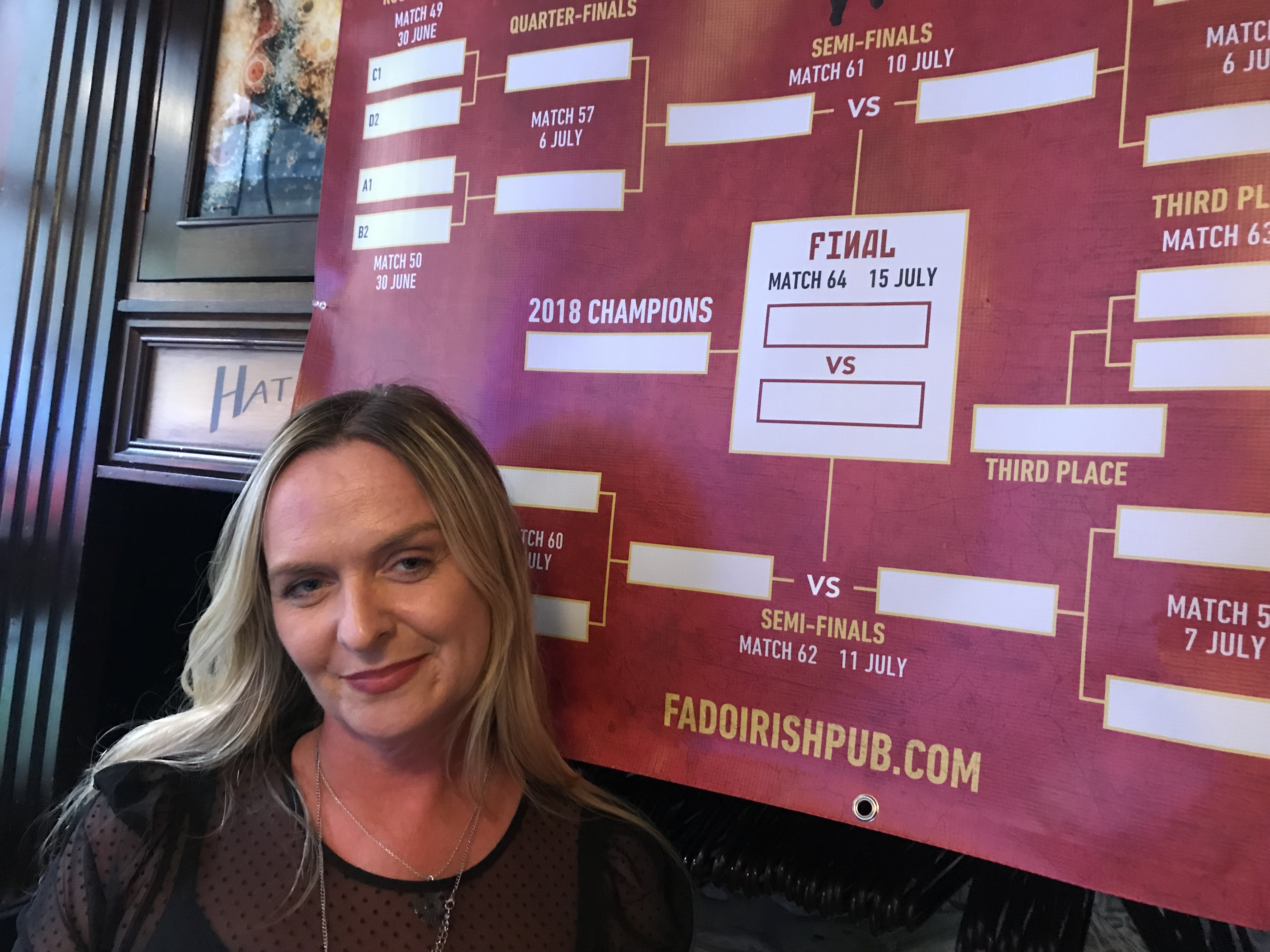"""Stephanie Henry, the general manager at Fado Irish Pub, opens the bar early in the morning on Saturdays for the European soccer fans. She says the pub """"gets slammed"""" on days with big European soccer games."""