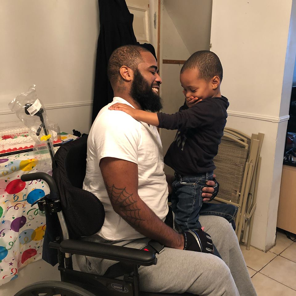 Jalil Frazier, a young Philadelphia father, was shot and paralyzed after protecting a group of children during a robbery in January.