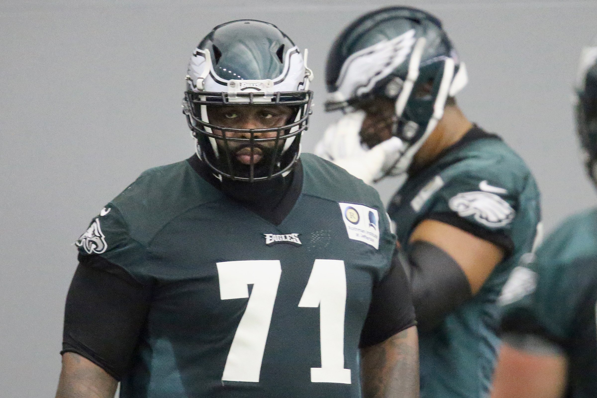 Eagles tackle Jason Peters during practice at the NovaCare Complex on Tuesday.