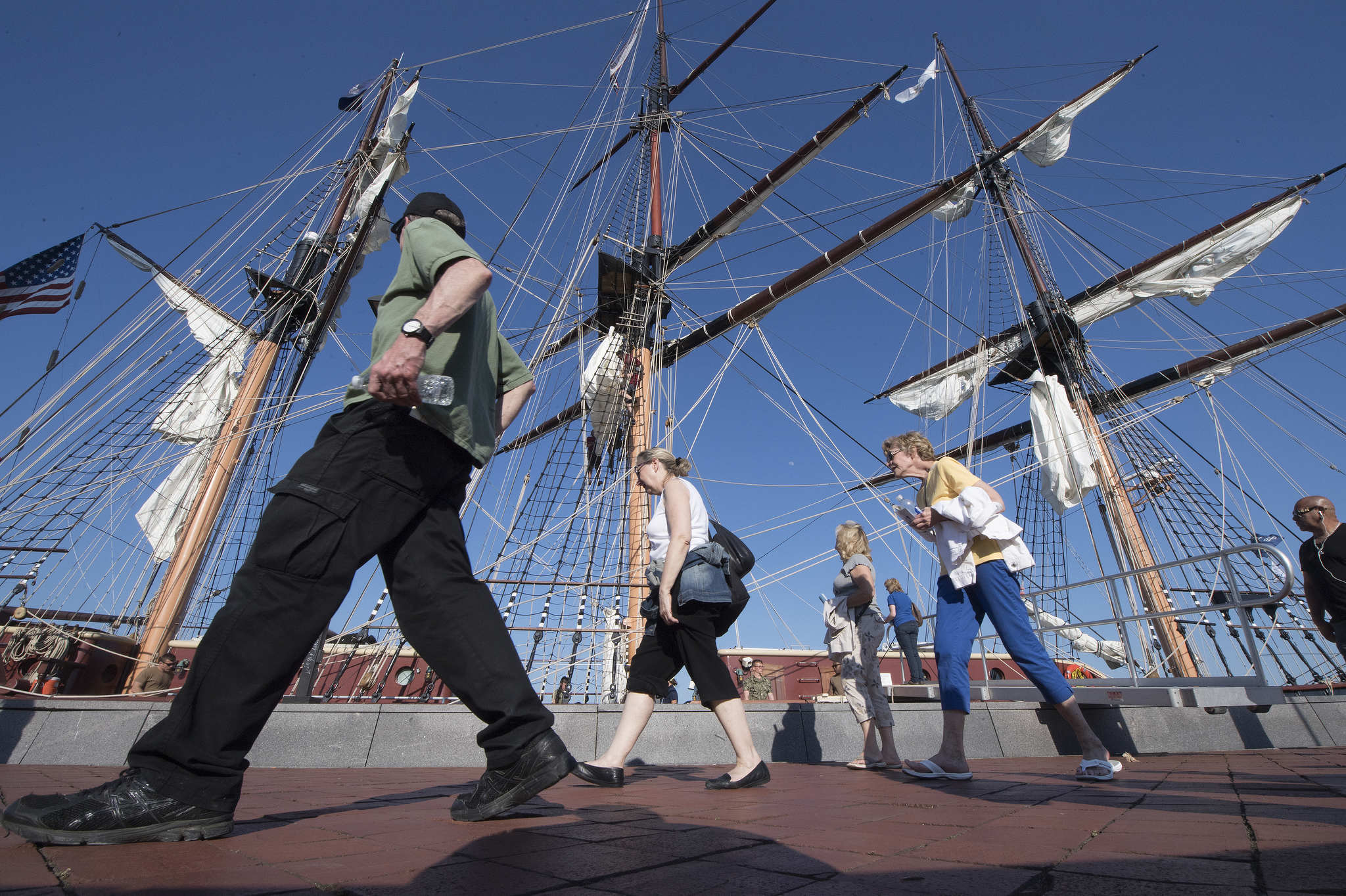 Visitors at Penns Landing, Philadelphia near the Oliver Hazard Perry docked after the Parade of Sails in Philadelphia, Pa., Thursday, May 24, 2018.