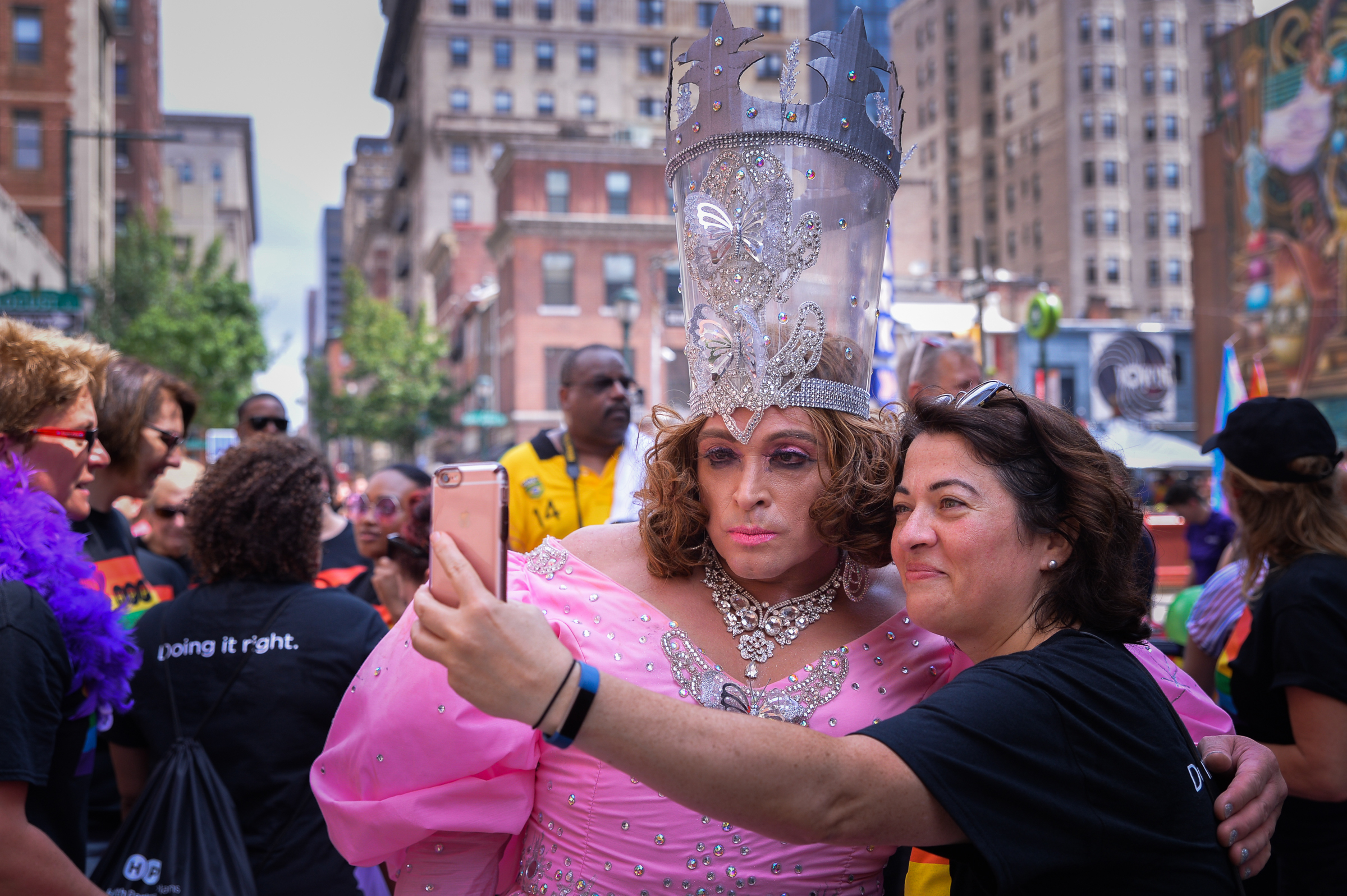 Jeffrey Snyder and Lisa Gallagher pose for a selfie at the Philly Pride Parade, which stretched from the Gayborhood to Penn´s Landing. June 18th, 2017.