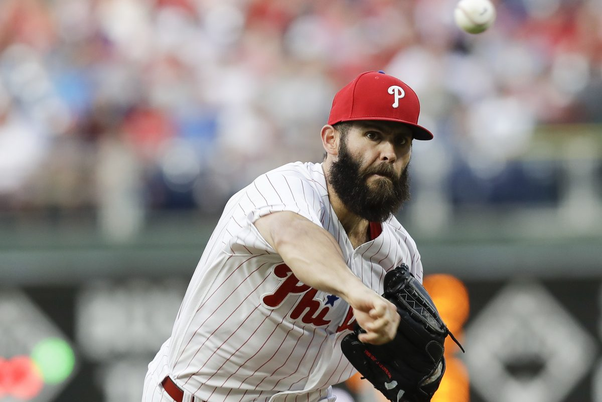 Phillies pitcher Jake Arrieta throws the baseball during the second-inning against the Atlanta Braves on Wednesday, May 23, 2018 in Philadelphia.