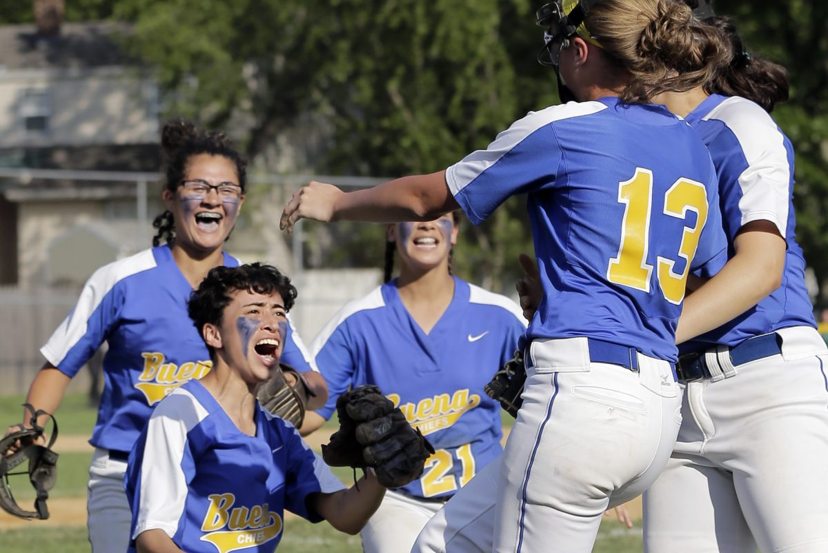 Buena pictcher Natalie Ampole celebrates with teammates after they won the Buena at Audubon H.S. South Jersey Group 1 girls softball championship game on May 31, 2017. Buena shut out Audubon 3-0.