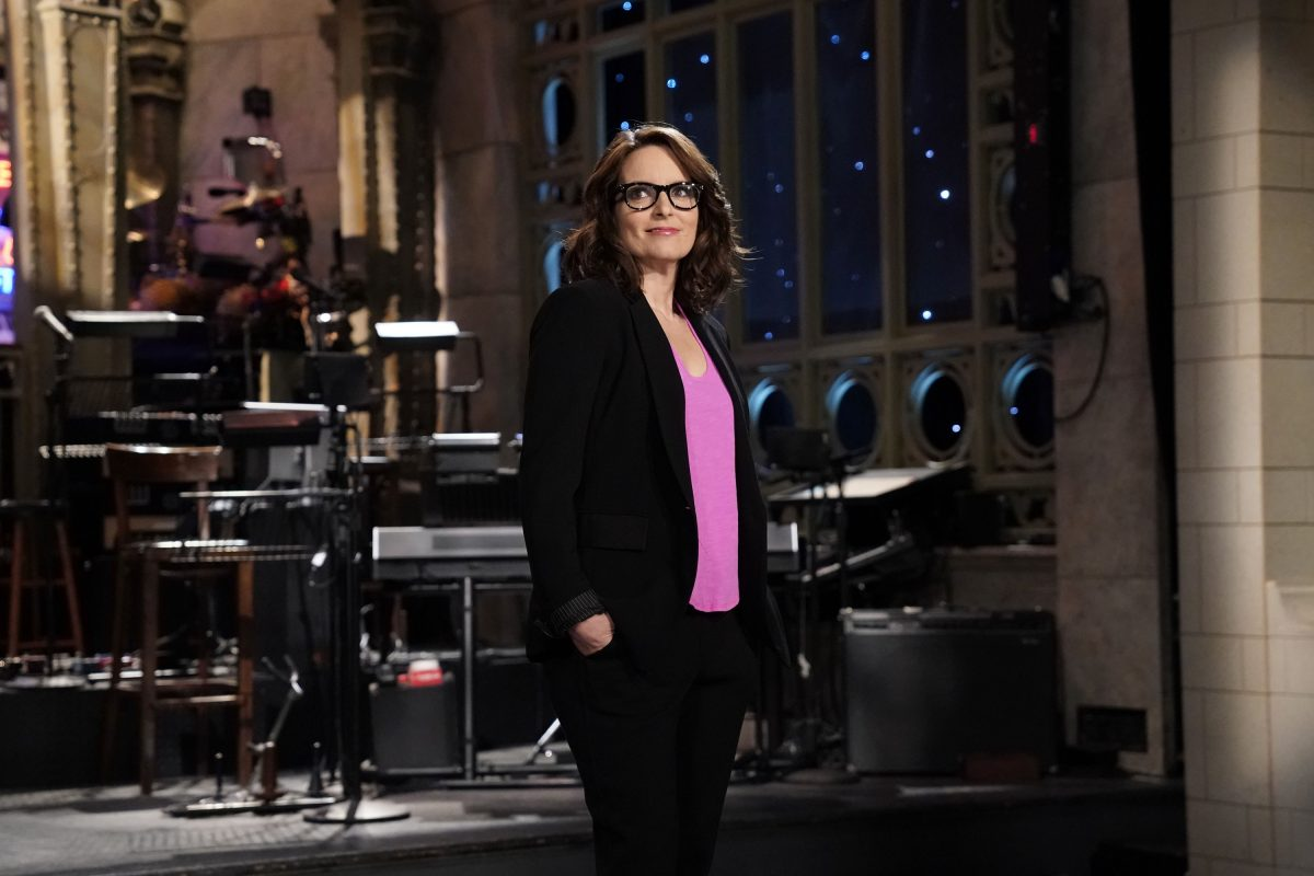 Host Tina Fey during a promo in Studio 8H for her recent Saturday Night Live appearance