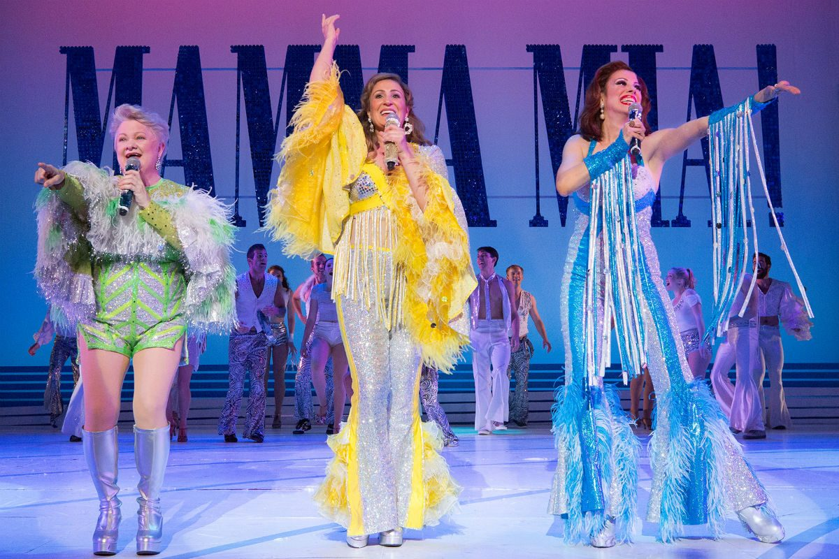 "(Left to right:) Charis Leos, Anne Brummel, and Lyn Philistine in ""Mamma Mia!,"" through July 15 at the Walnut Street Theatre."