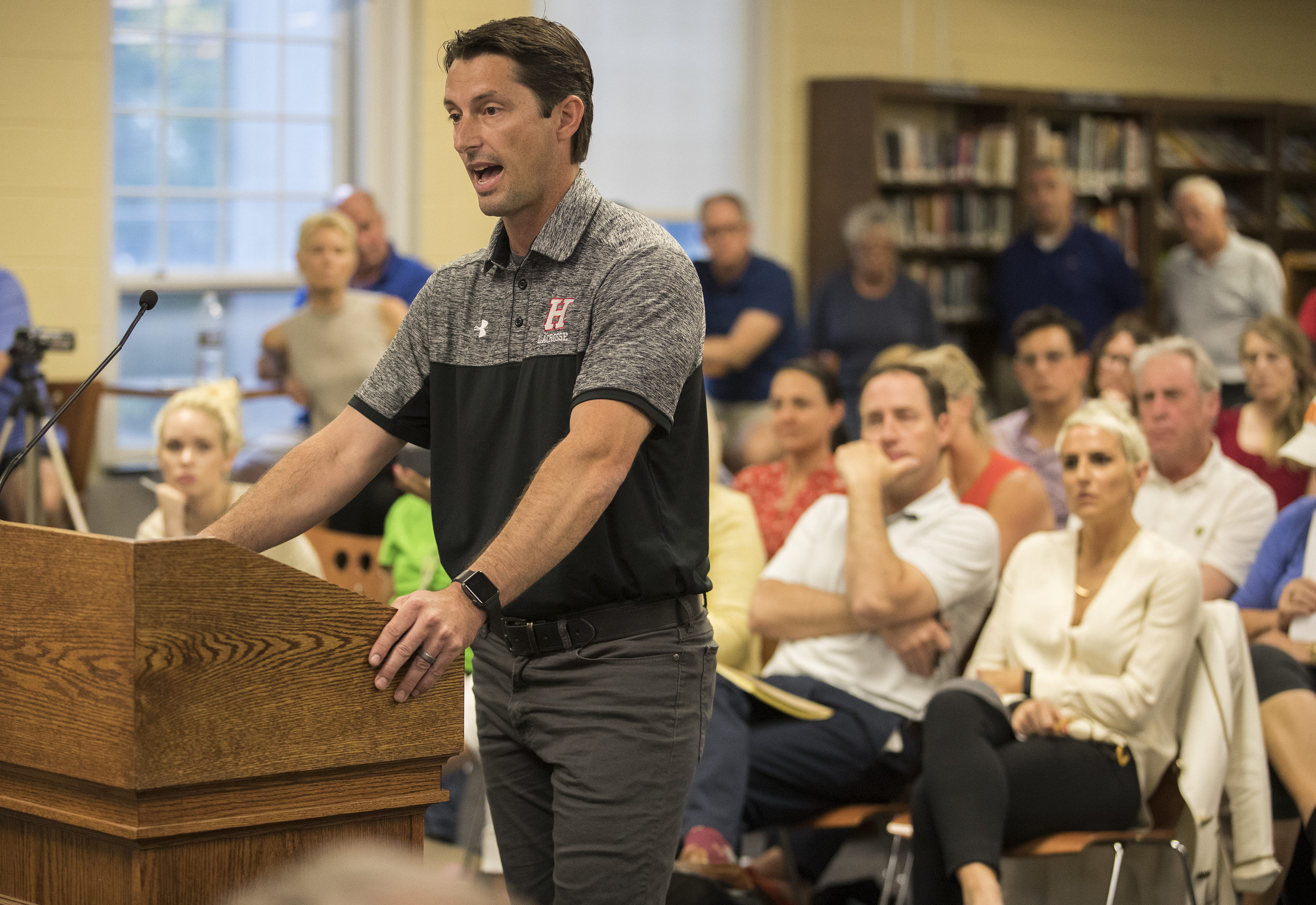 Haddonfield School Board held its monthly meeting with one of the topics being the decision to cancel the boys´ lacrosse team season after a member was accused of using a racial slur against a black female athlete from another school. Boys Head Lacrosse Coach Damon Legato addresses the board on May 24, 2018.