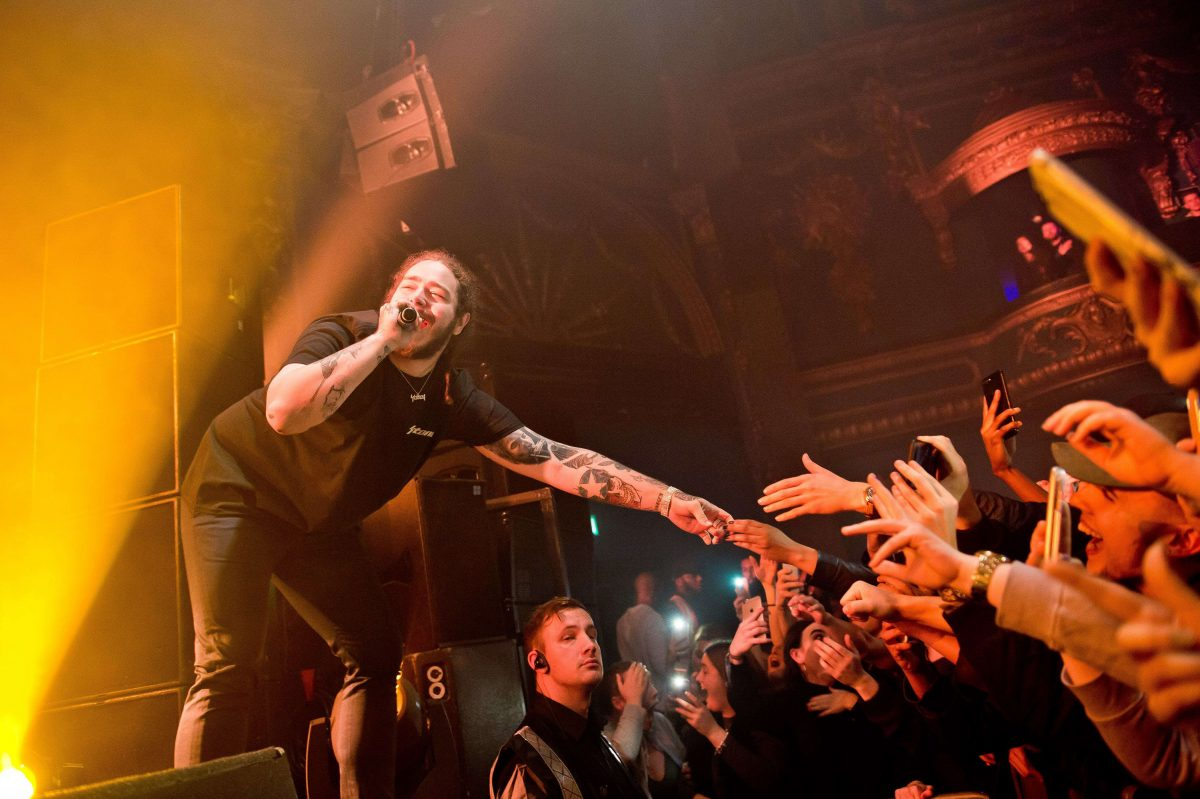 Post Malone performs Dec. 12, 2016, at Electric Brixton in London. The rapper played the Festival Pier on Wednesday.