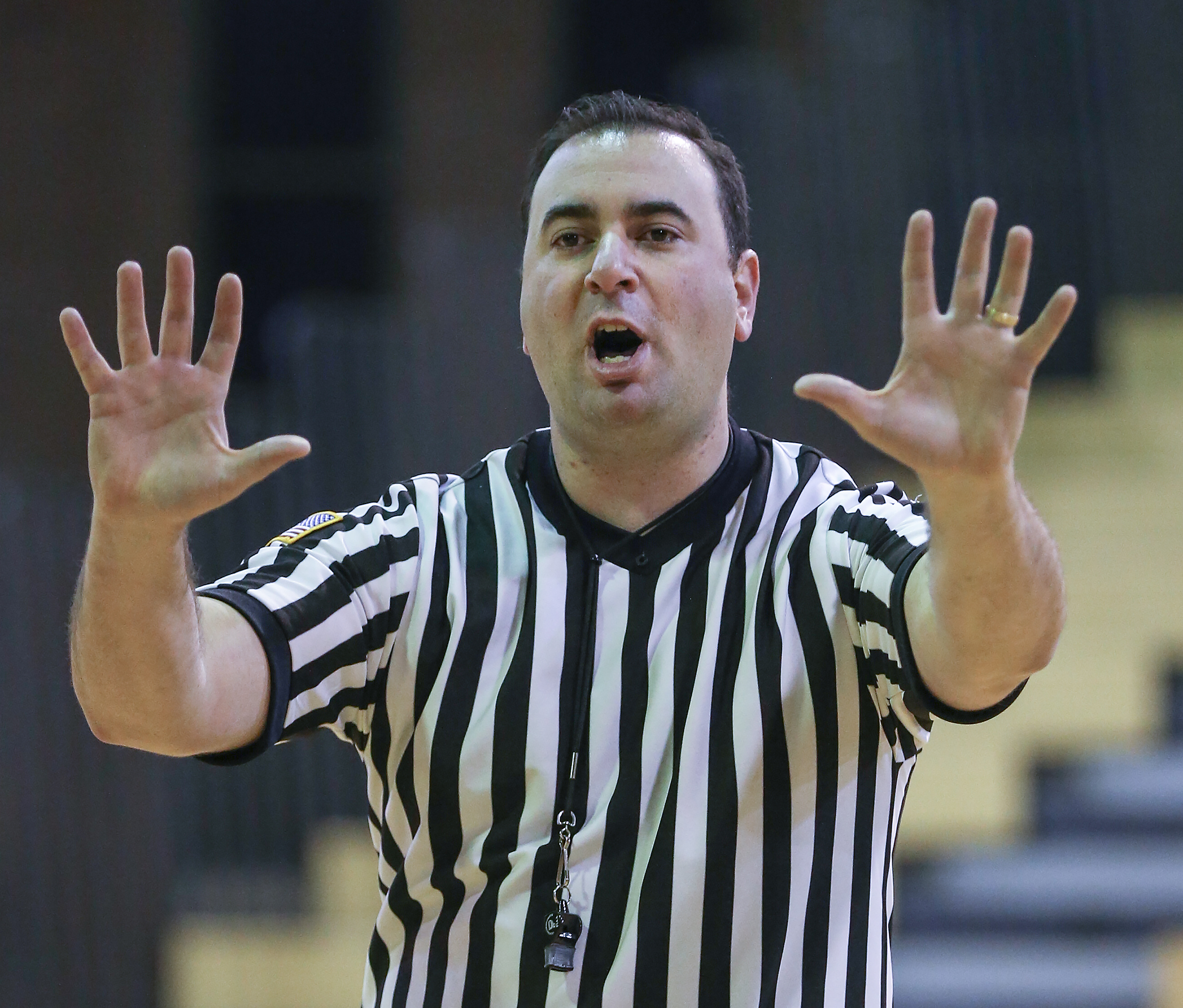 Dominic Frassinelli makes a call during a junior-varsity game in January.