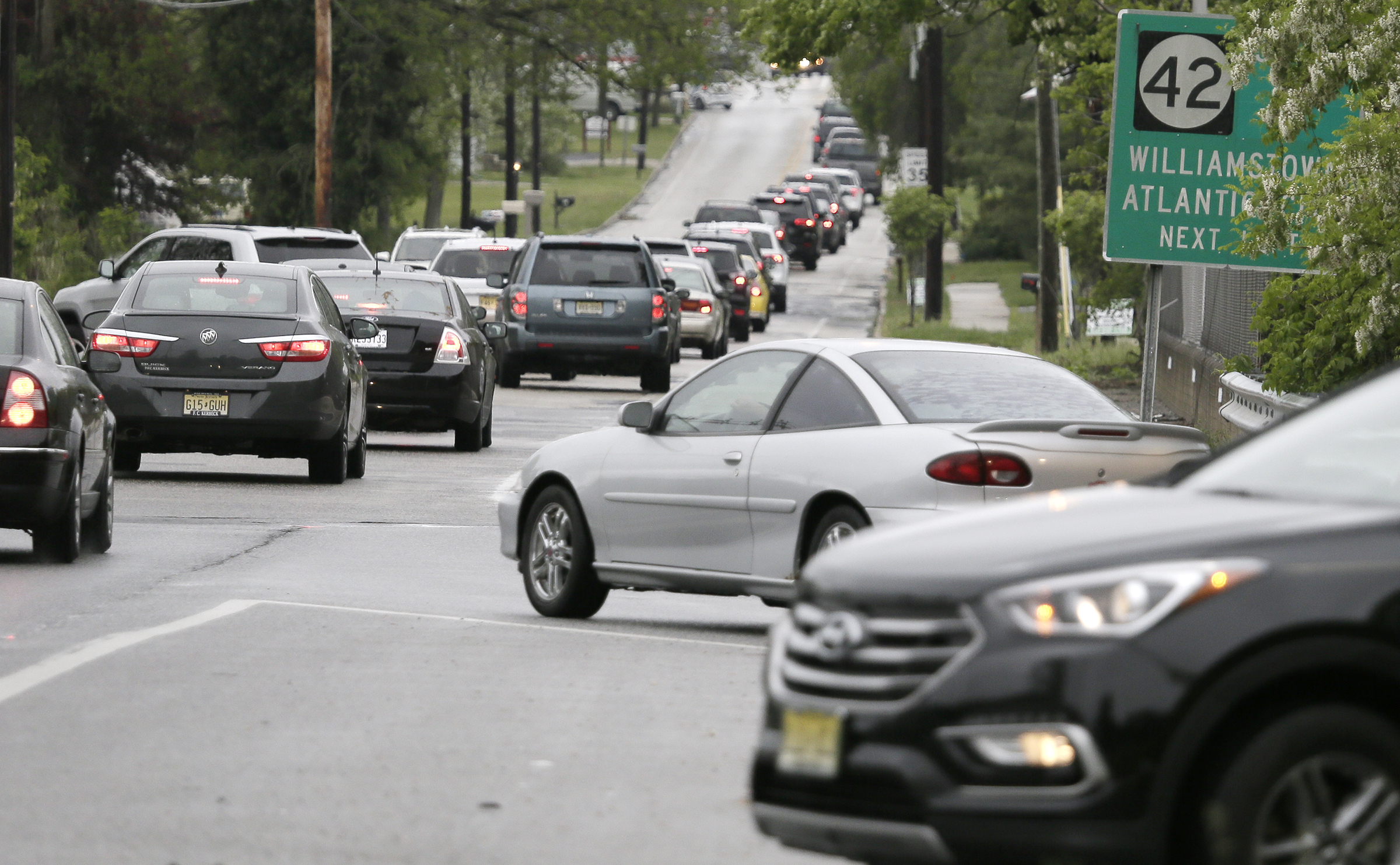 Motorists get off of Rt. 42 northbound at Coles Rd in Gloucester Twp only to find traffic backed up there too. Emergency construction on Rt 76 in Gloucester has traffic backed up on many highways including northbound Rt 42 and 55 and southbound 295 on May 13, 2018.