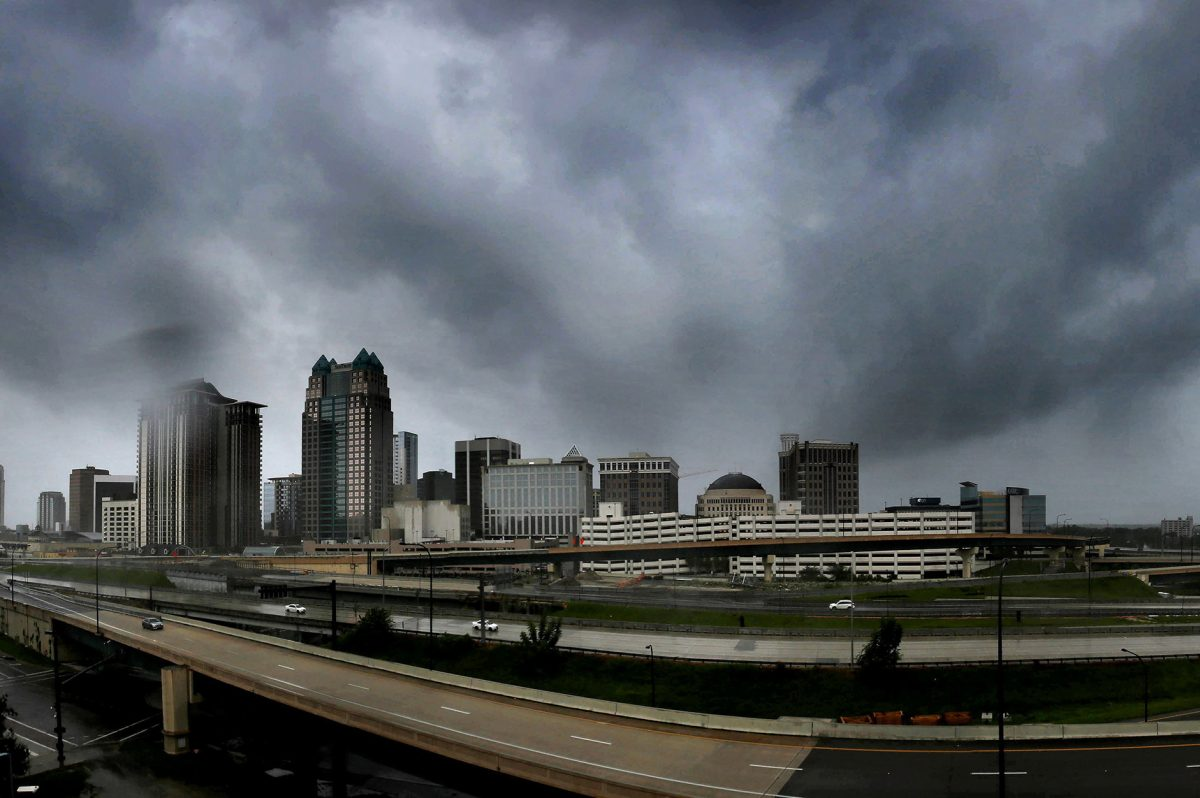 Storms clouds move in over the skyline of downtown Orlando associated with Irma in September. Alberto will affect Florida this weekend.