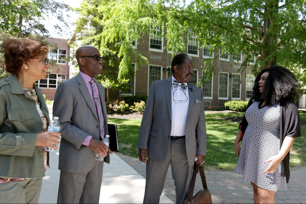 Leaders and members of the Camden County East Chapter of the NAACP talk after their diversity training session at Haddonfield High on May 25.  They are, from left: Geri Andrews-Savage, NAACP President Lloyd Henderson, NAACP V.P. Carey Savage, and Fatima Heyward.