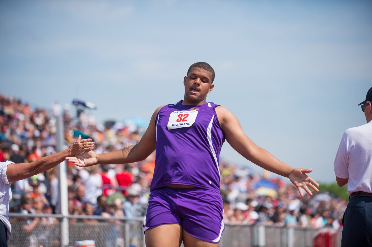 Ojay Harris of Martin Luther King High School finishes first in his heat of the unified division 100-meter dash at the PIAA state track and field championships.