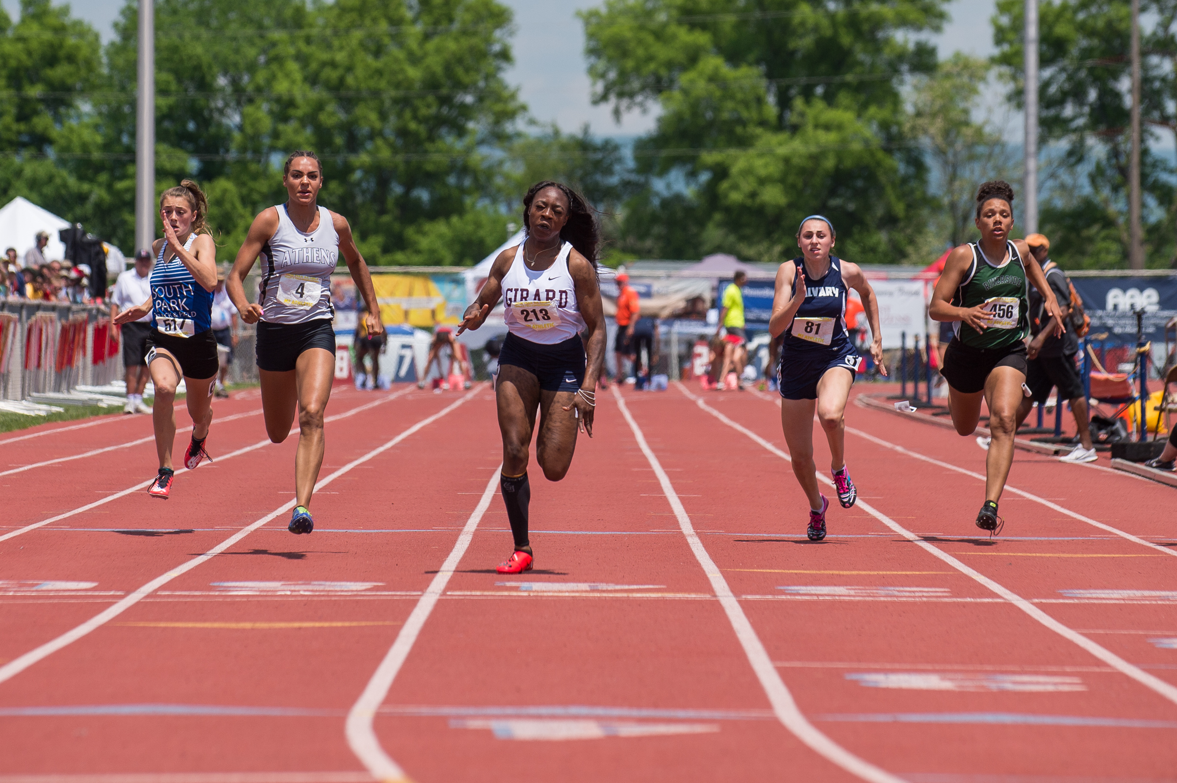 Thelma Davies of Girard College competes in the 2A 100 dash.