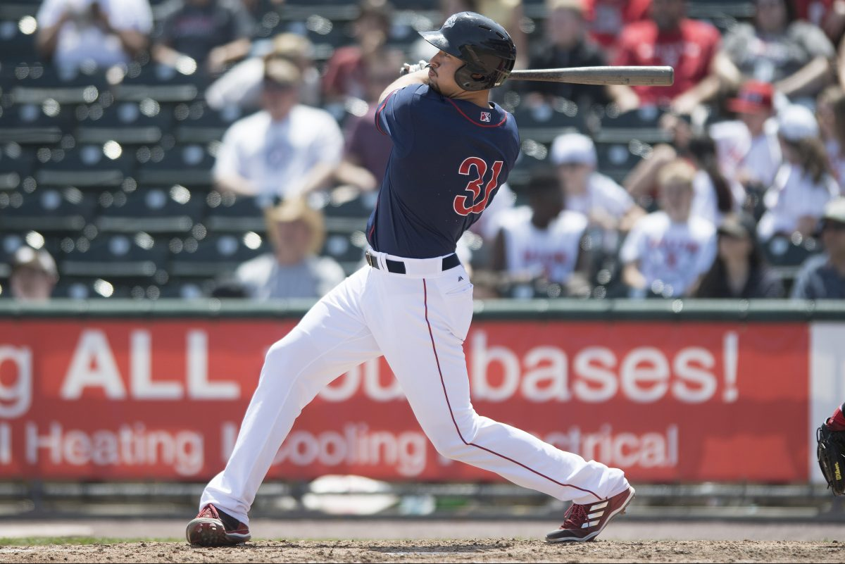 Dylan Cozens homered twice in the first game of Triple-A Lehigh Valley's doubleheader Saturday.