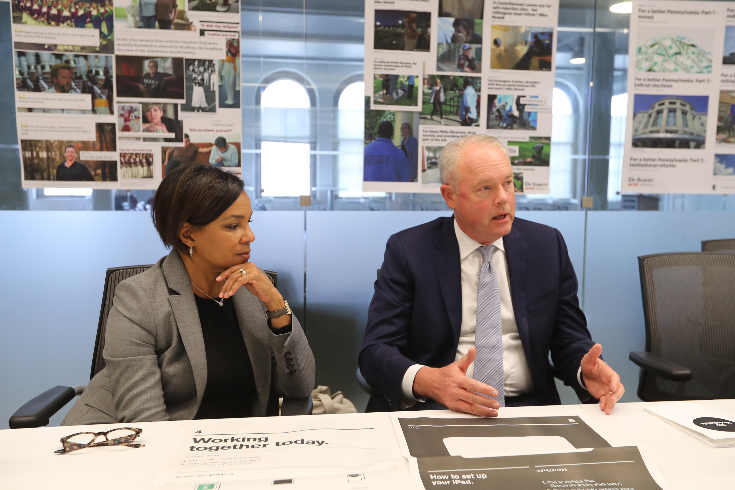 CEO of Starbucks Kevin Johnson and Rosalind G. Brewer, COO of Starbucks talk to the Inquirer and Daily News Tuesday.
