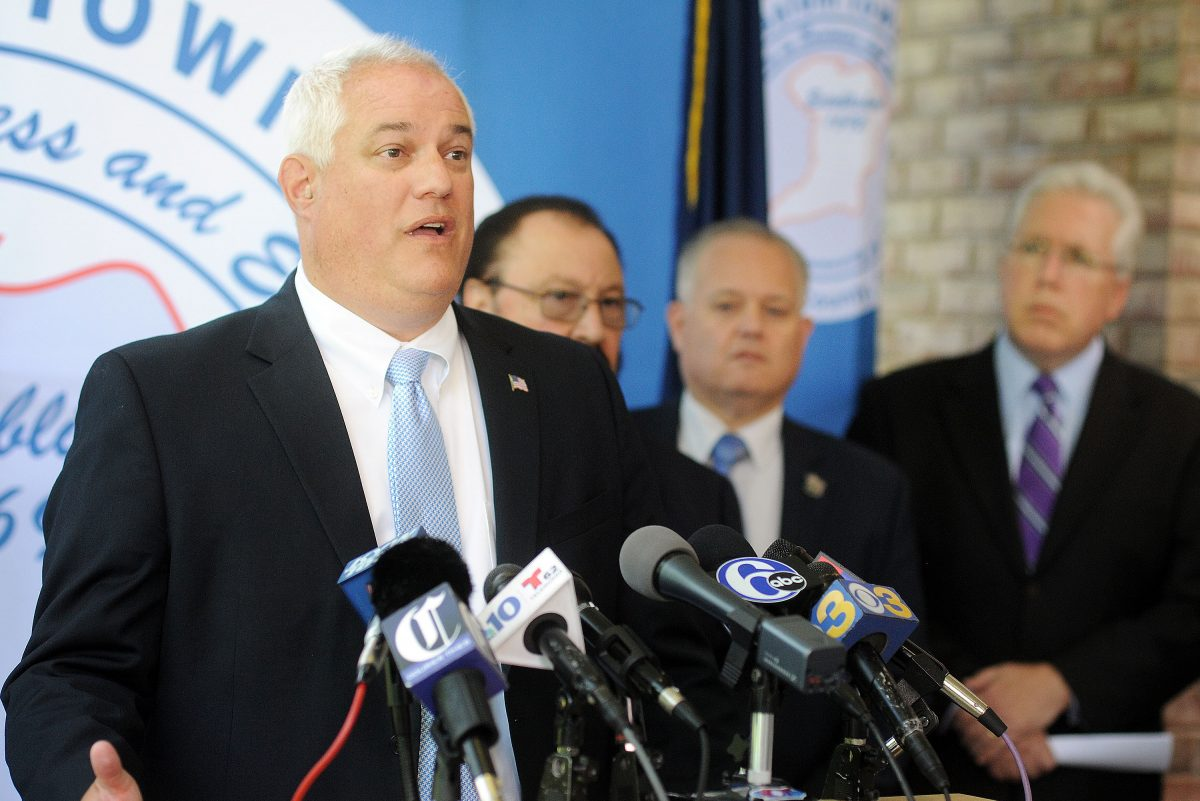 Bucks County District Attorney Matt Weintraub speaks at a news conference after the announcement that Bensalem Township would be filing a lawsuit against major drug companies to pay for the opioid epidemic Wednesday, August 30, 2017 at the Bensalem Municipal Complex in Bensalem, Pennsylvania. (WILLIAM THOMAS CAIN / For The Philadelphia Inquirer)