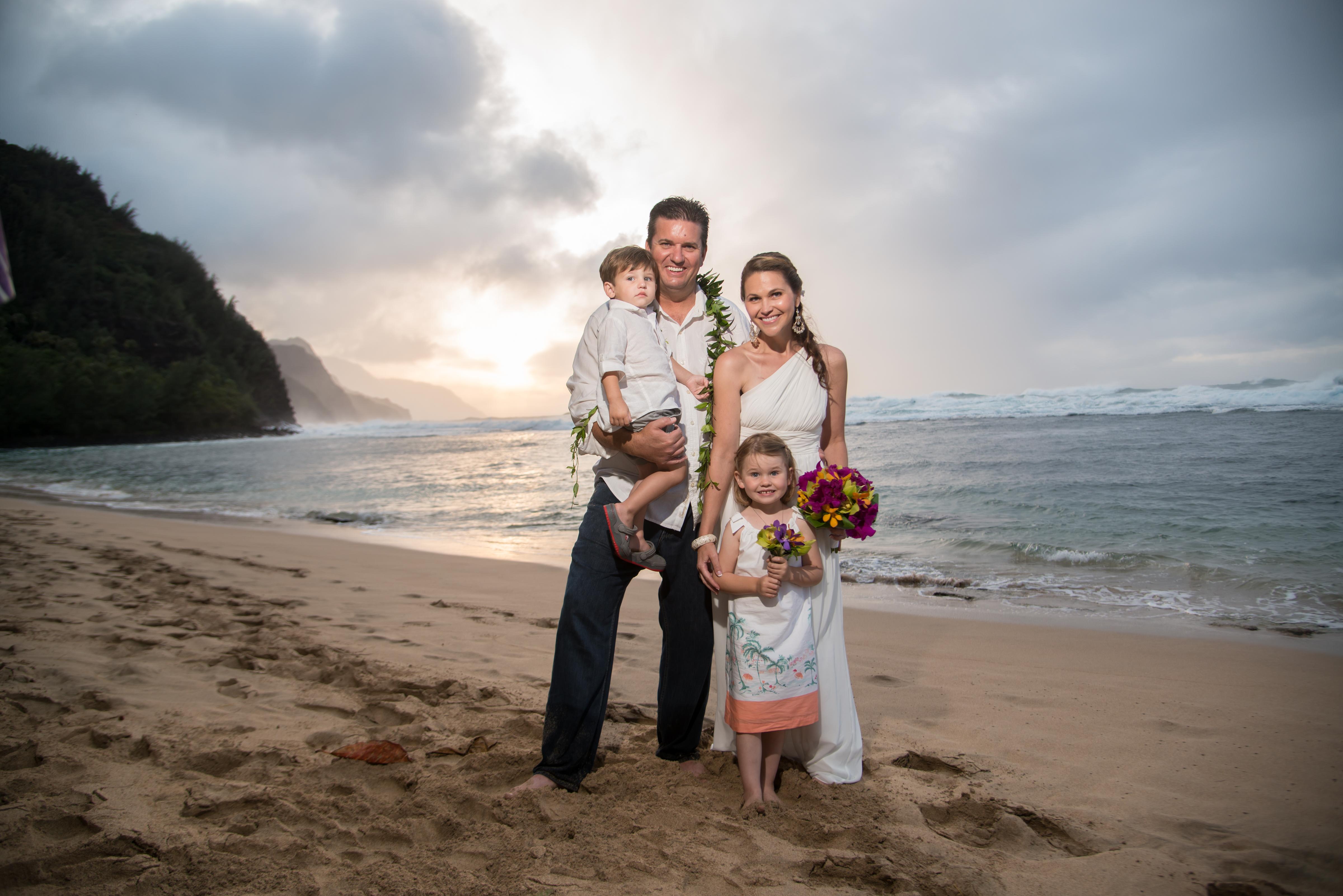 Liz Eicher with her husband and children.