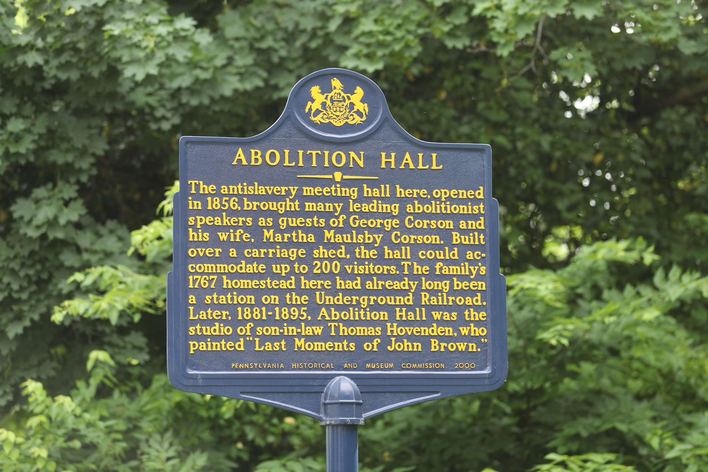 The marker for Abolition Hall on Butler Pike in Plymouth Meeting Friday June 1, 2018 DAVID SWANSON / Staff Photographer