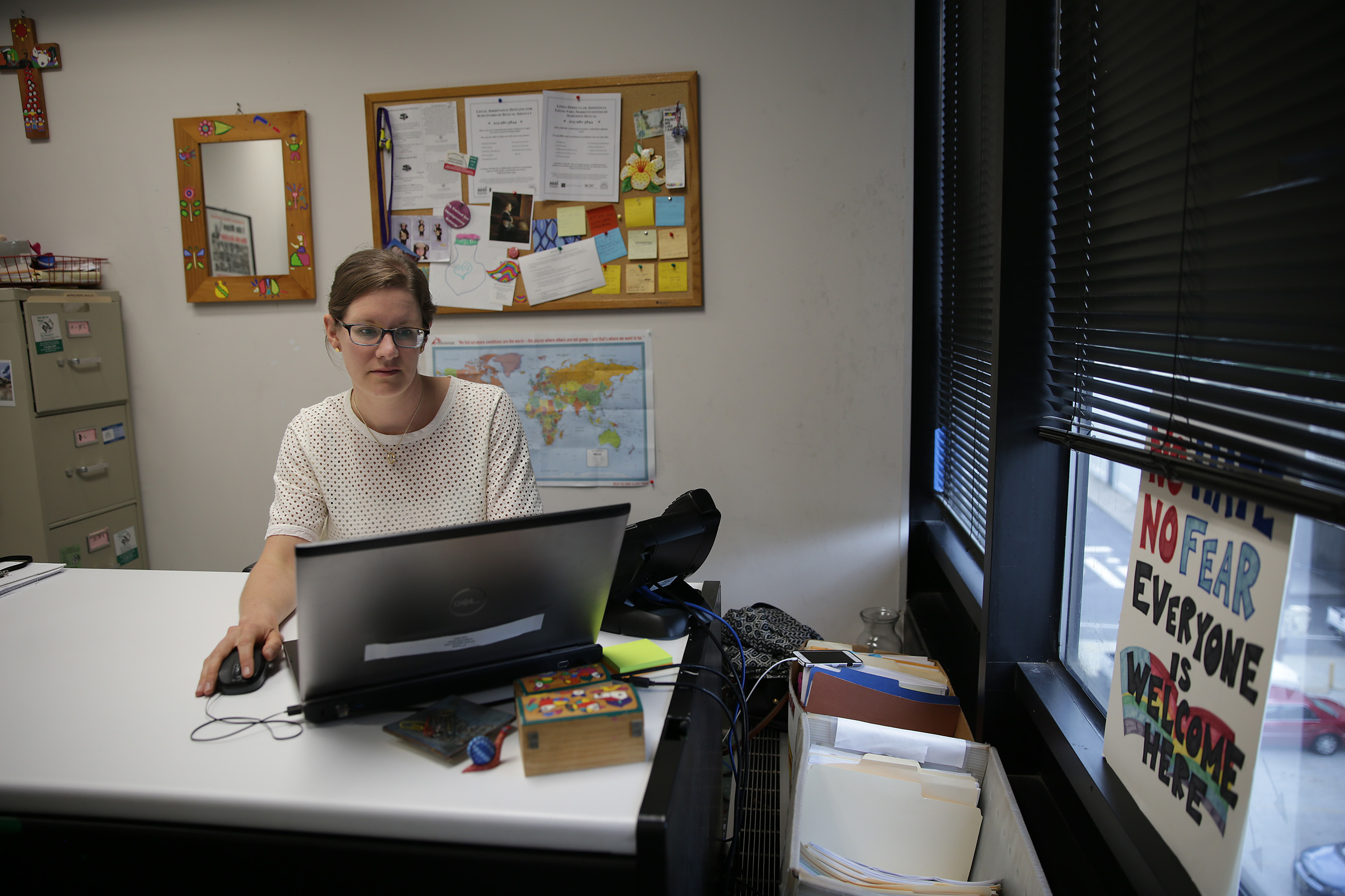 HIAS PA attorney Elizabeth Yaeger is pictured at work in Philadelphia on Wednesday.